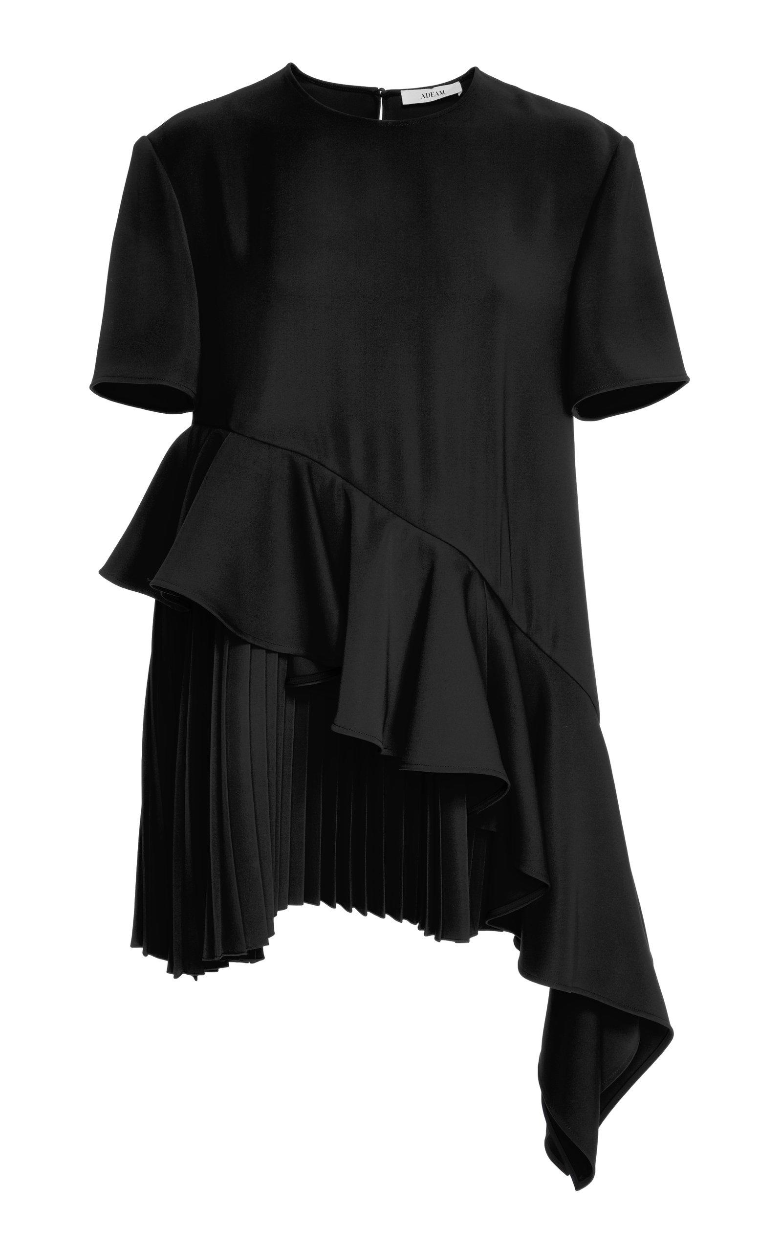 Adeam Pleated Top In Black