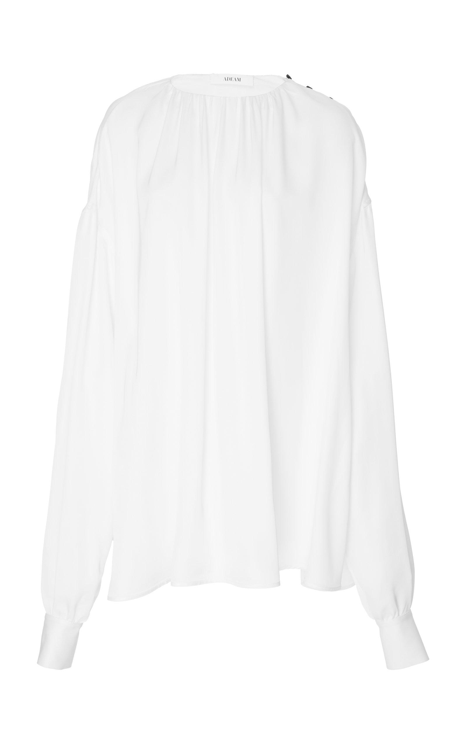 Adeam Button Shoulder Blouse In White