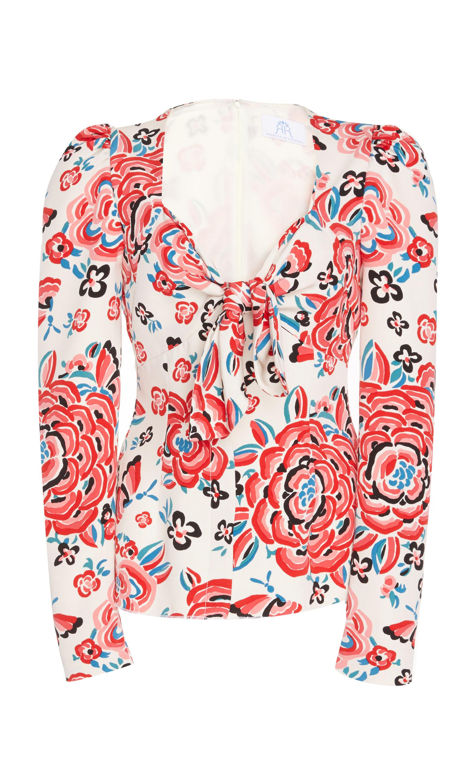 Rebecca De Ravenel Printed Tie Front Blouse In Floral