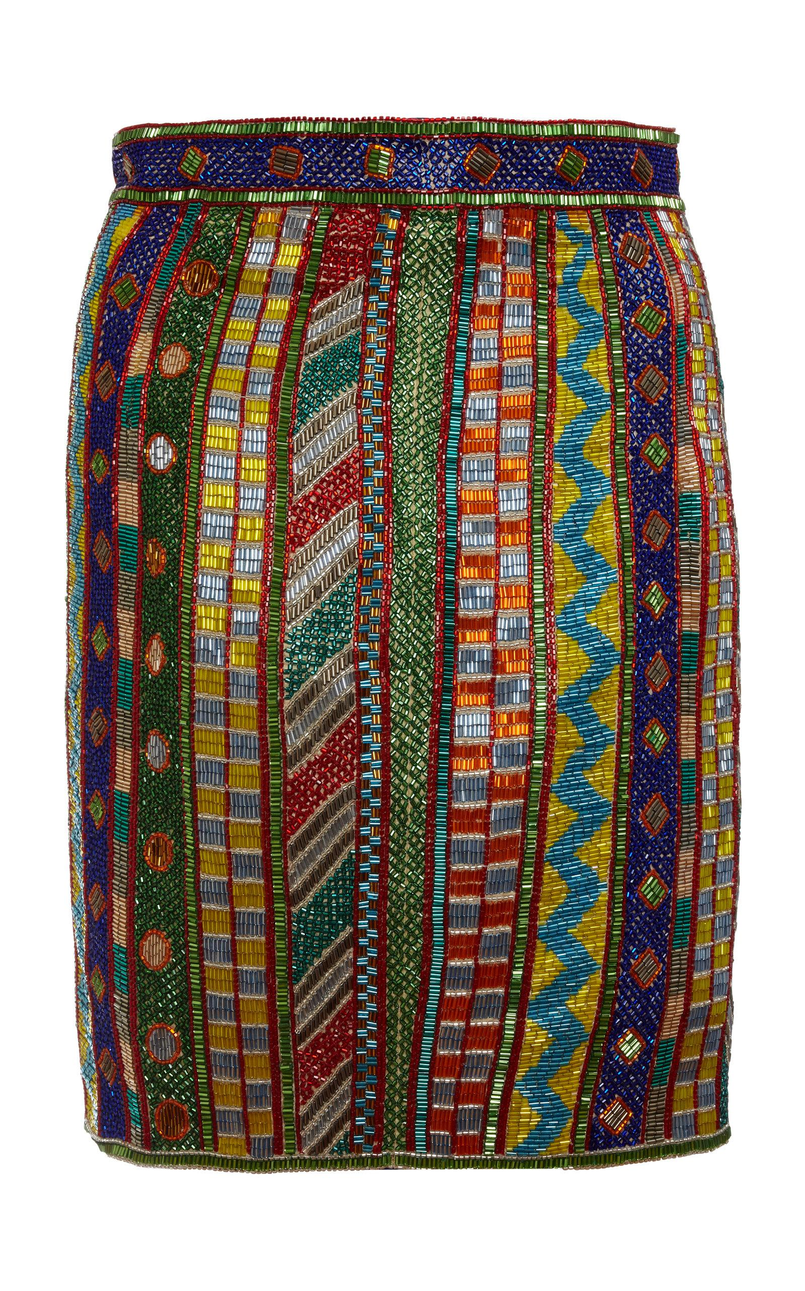 Khosla Jani Embroidered Pencil Skirt In Multi