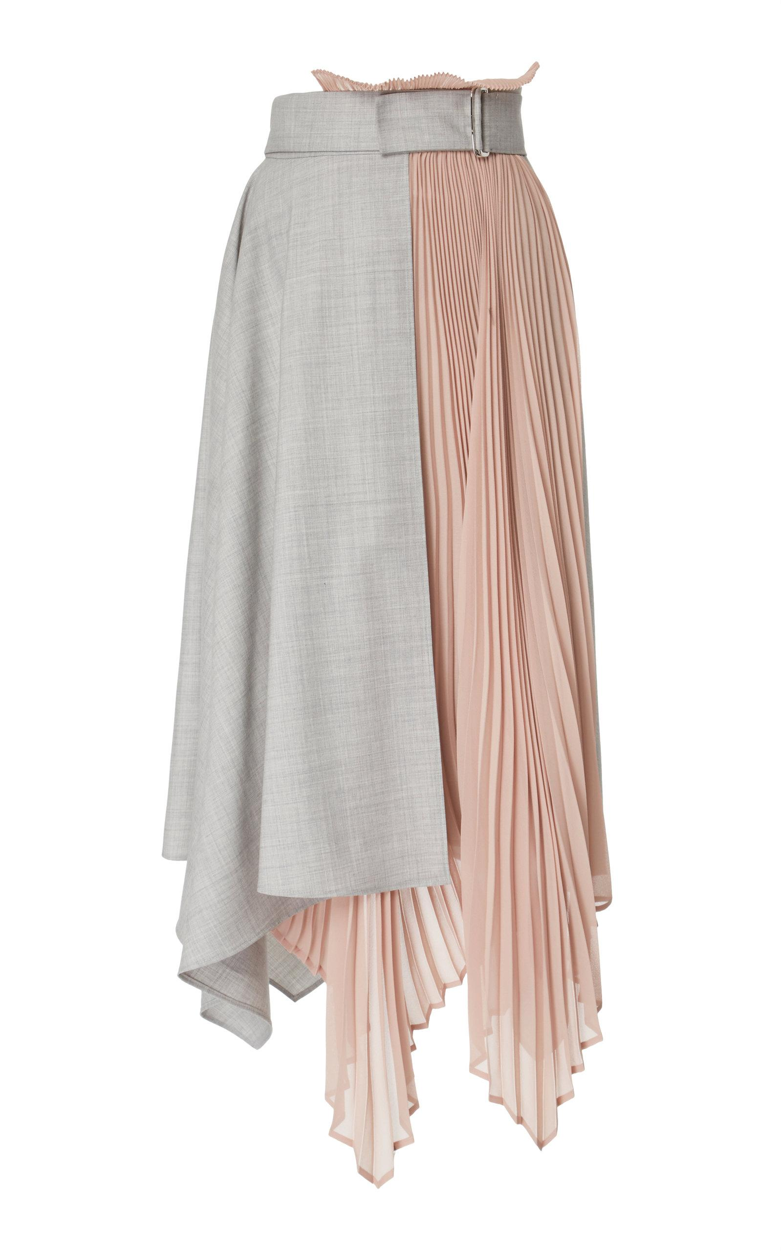 Adeam Pleated Wrap Skirt In Grey