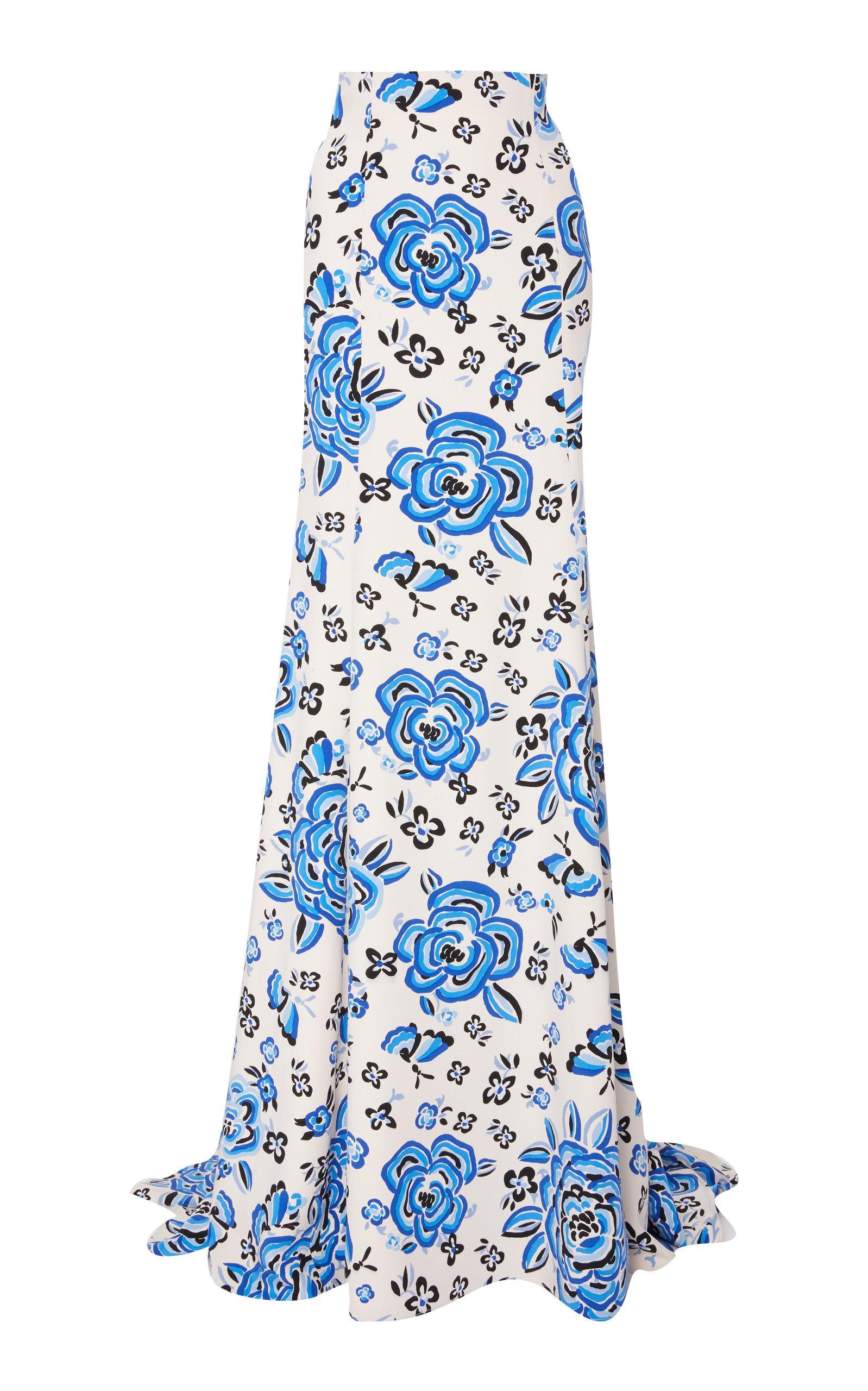 Rebecca De Ravenel Silk Georgette Long Skirt In Floral