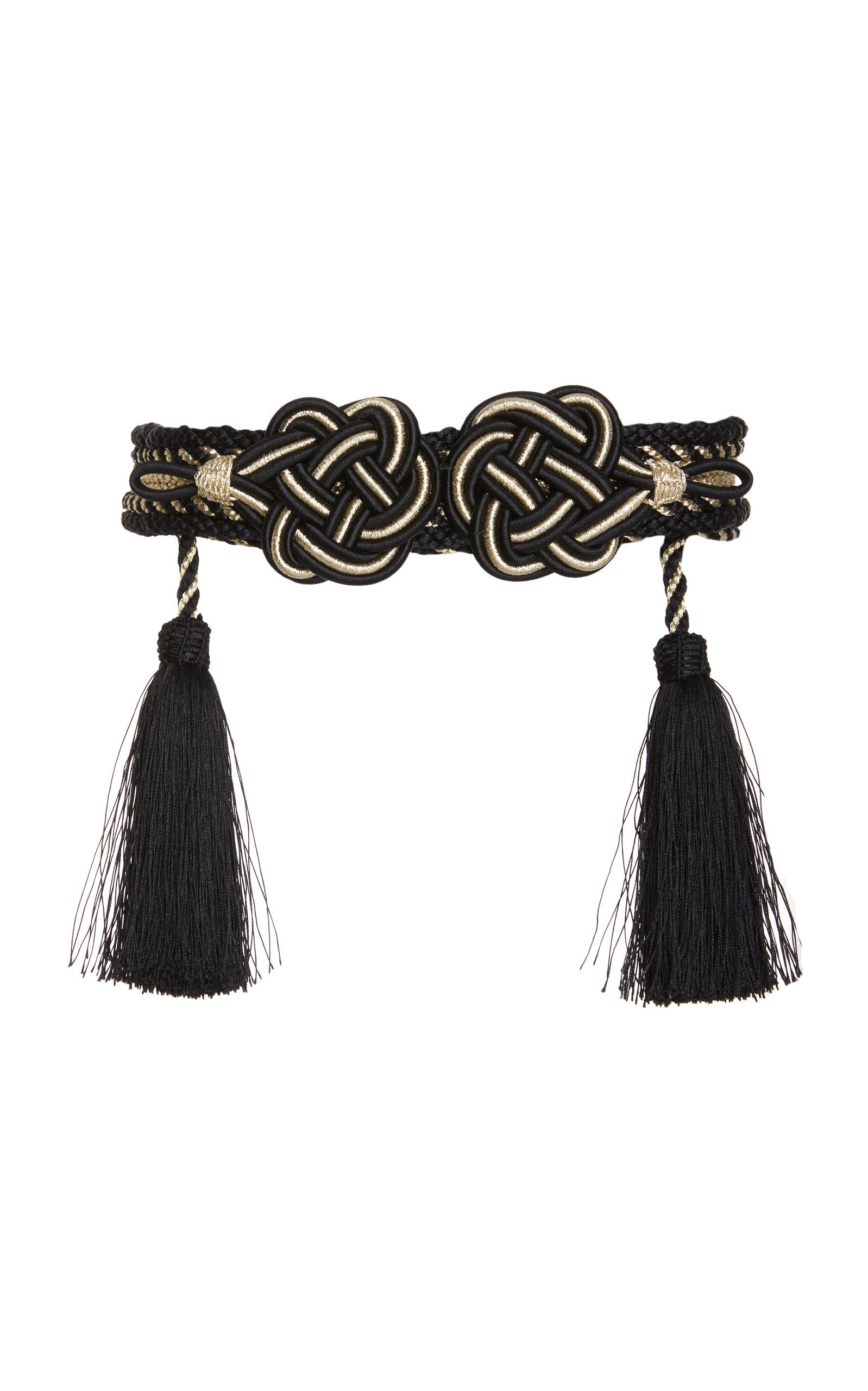 Rebecca De Ravenel Mouna Passementerie Braided Lurex Belt In Black/white