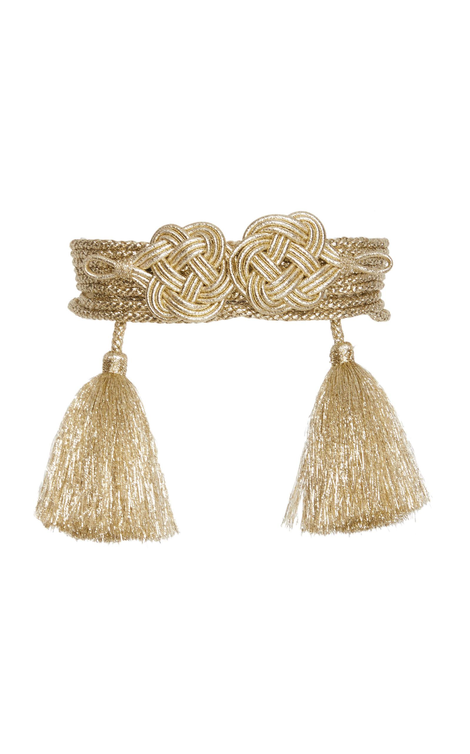 Rebecca De Ravenel Mouna Passementerie Braided Lurex Belt In Gold
