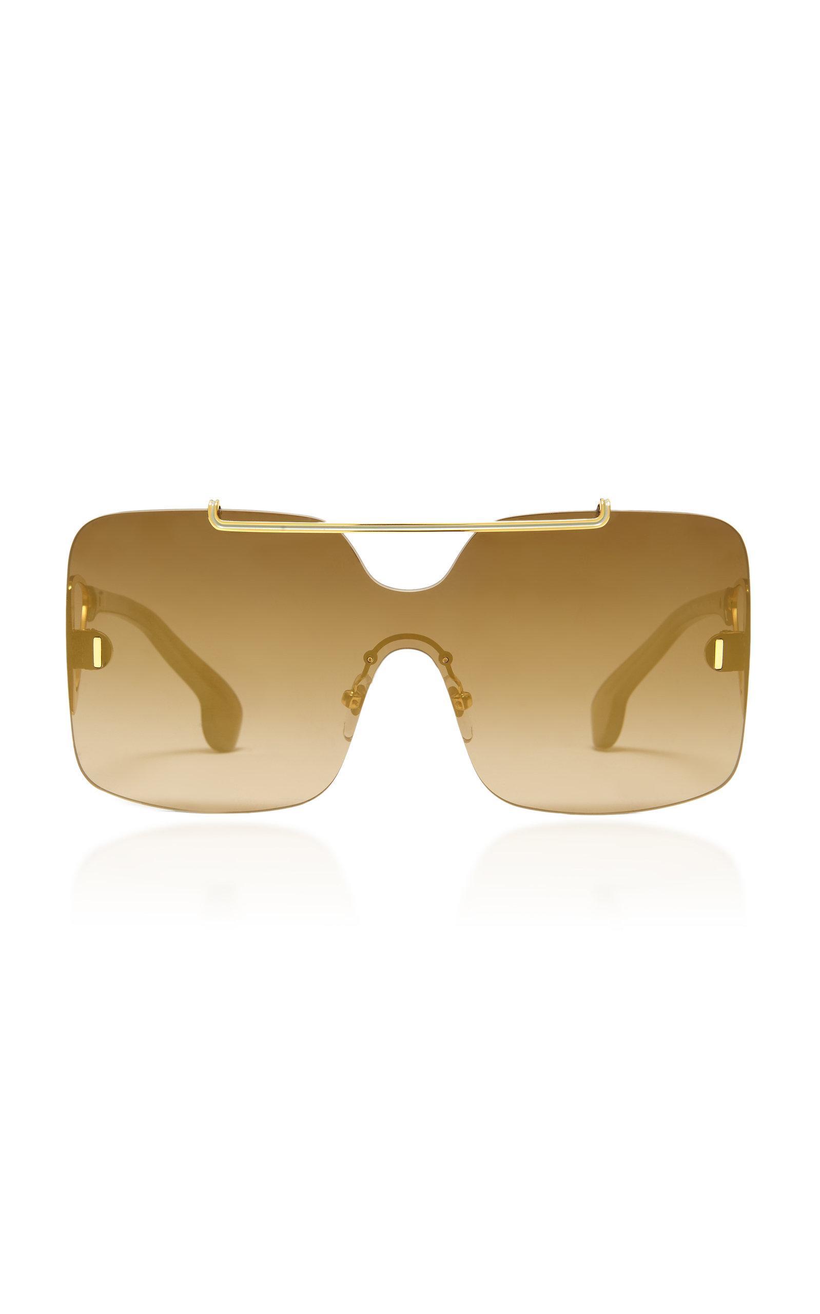 Philippe Chevallier Box Rimless Sunglasses In Brown