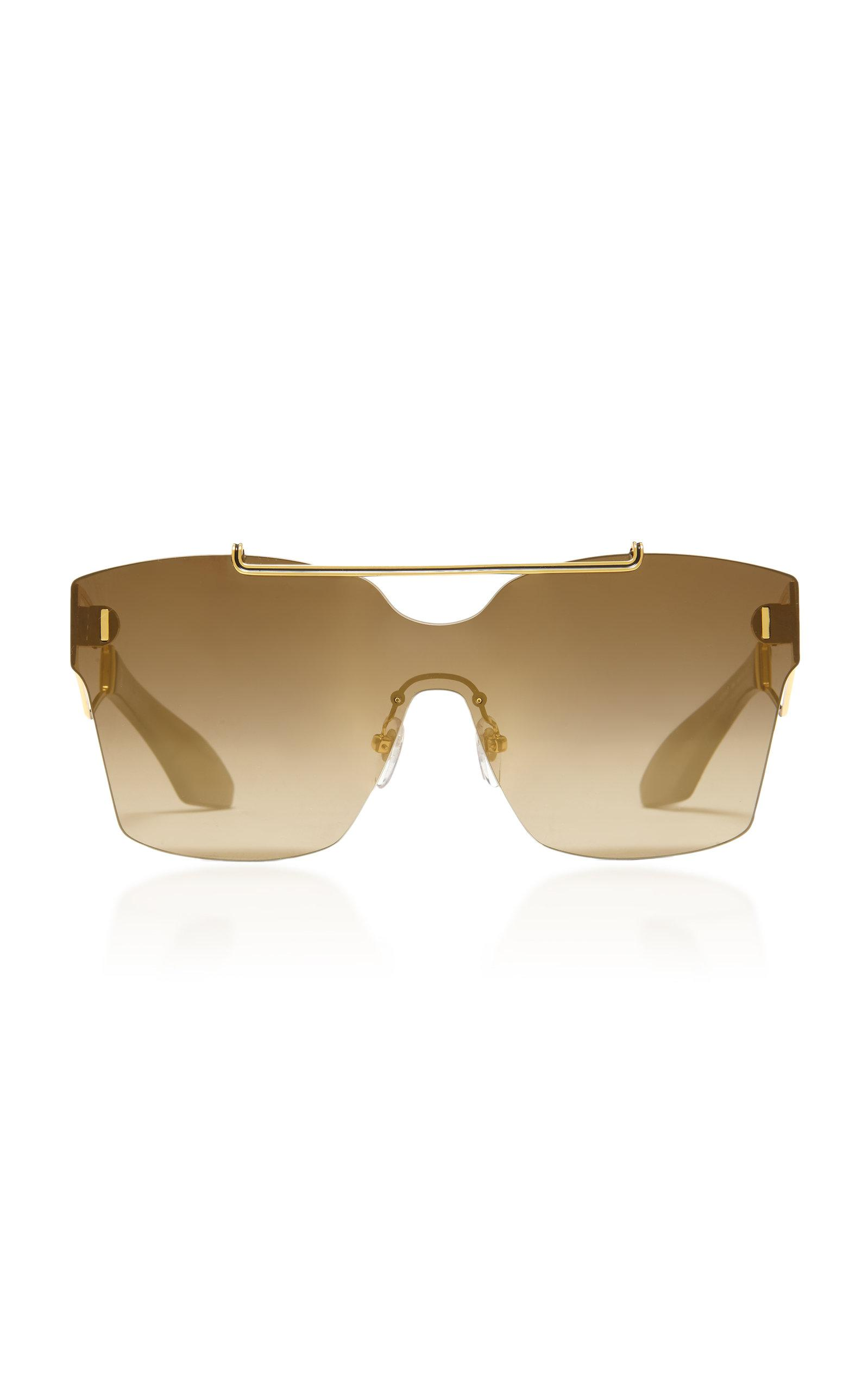 Philippe Chevallier Mask Rimless Sunglasses In Green