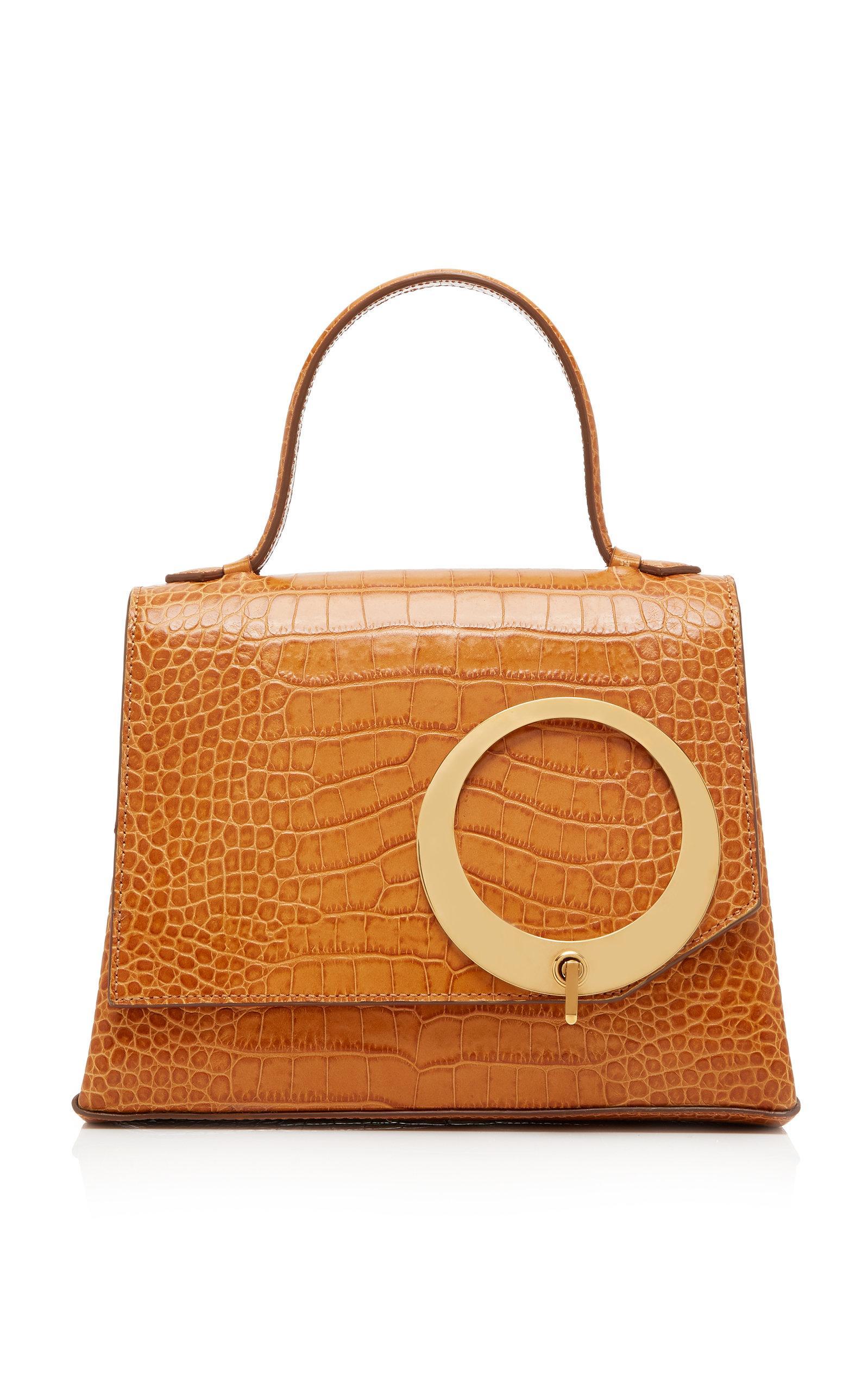 Trademark Harriet Croc-embossed Leather Bag In Neutral