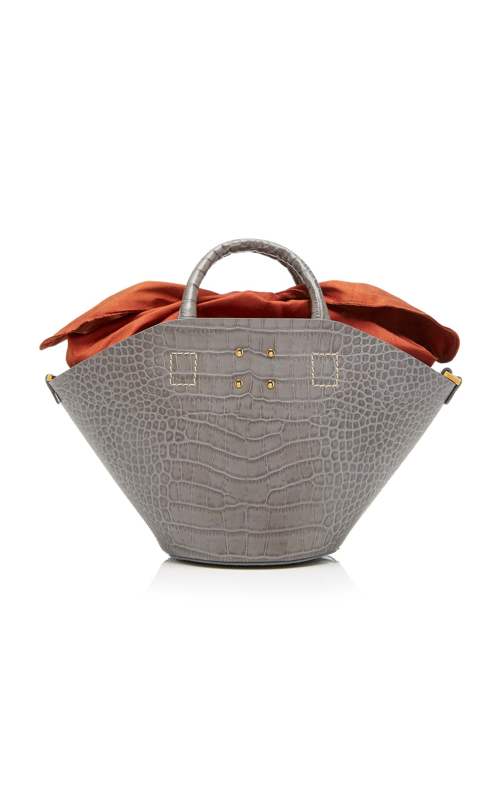 Trademark Small Basket Bag With Embossed Croc In Grey