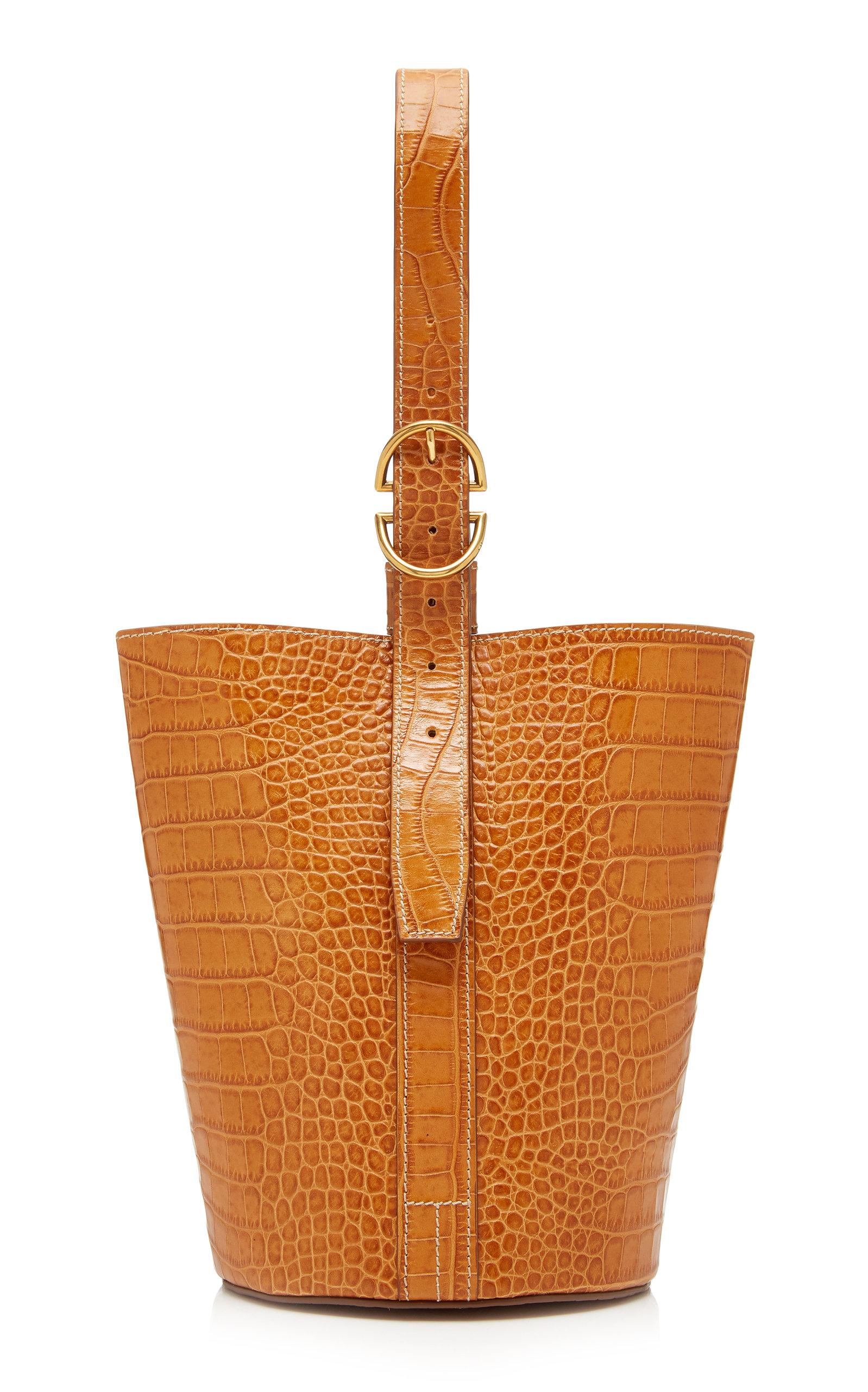 Trademark Small Embossed Classic Bucket Bag In Neutral
