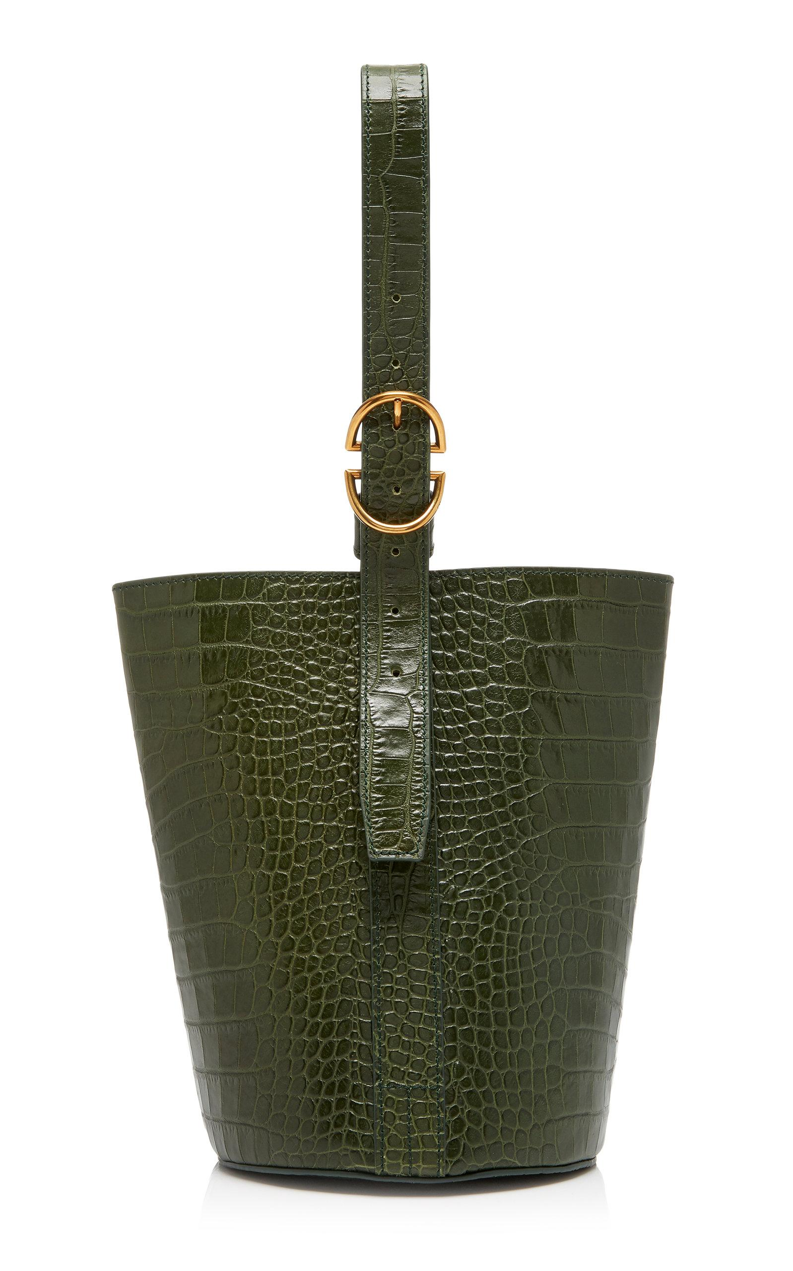 Trademark Small Embossed Classic Bucket Bag In Green