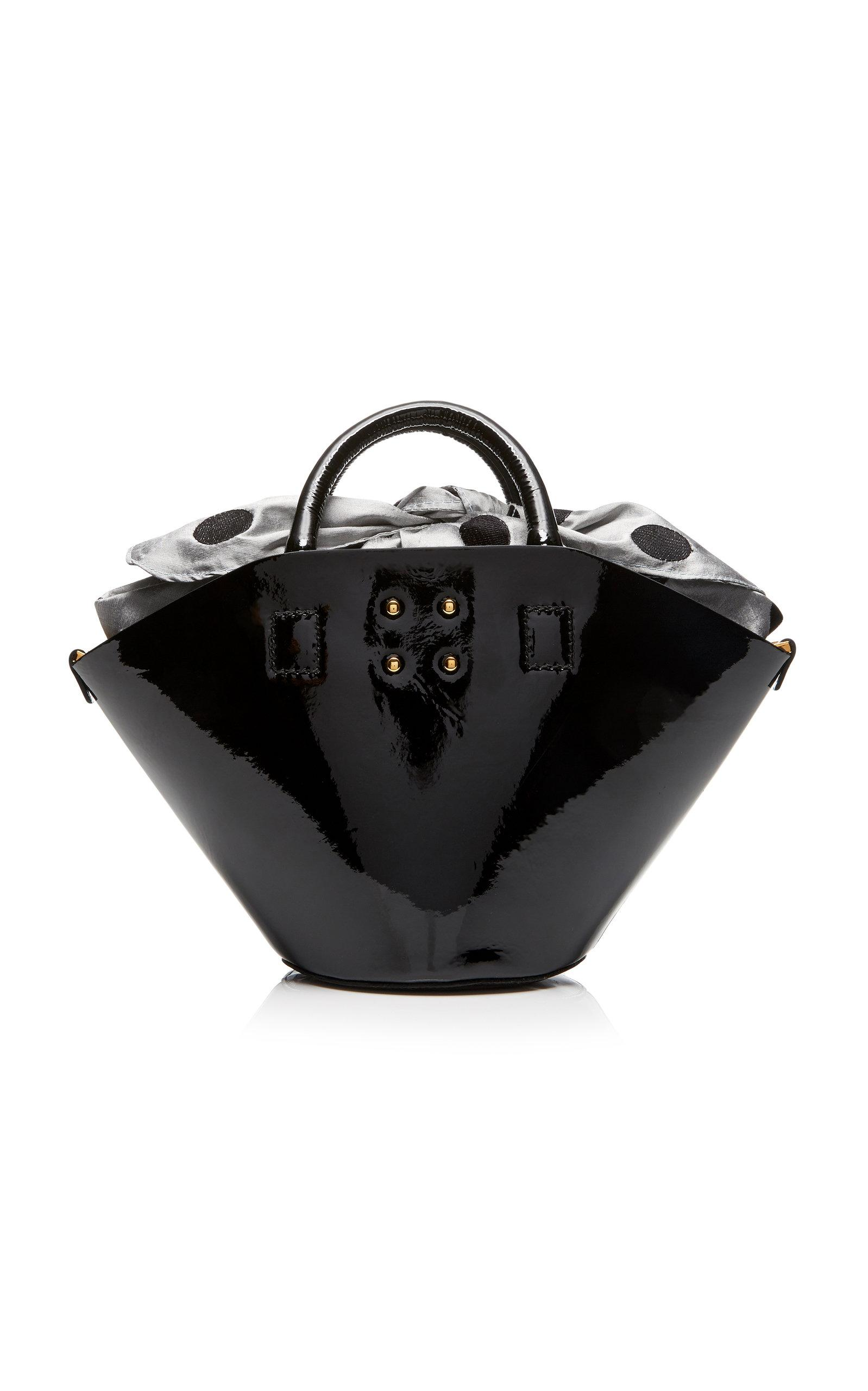 Trademark Small Patent Basket Bag In Black