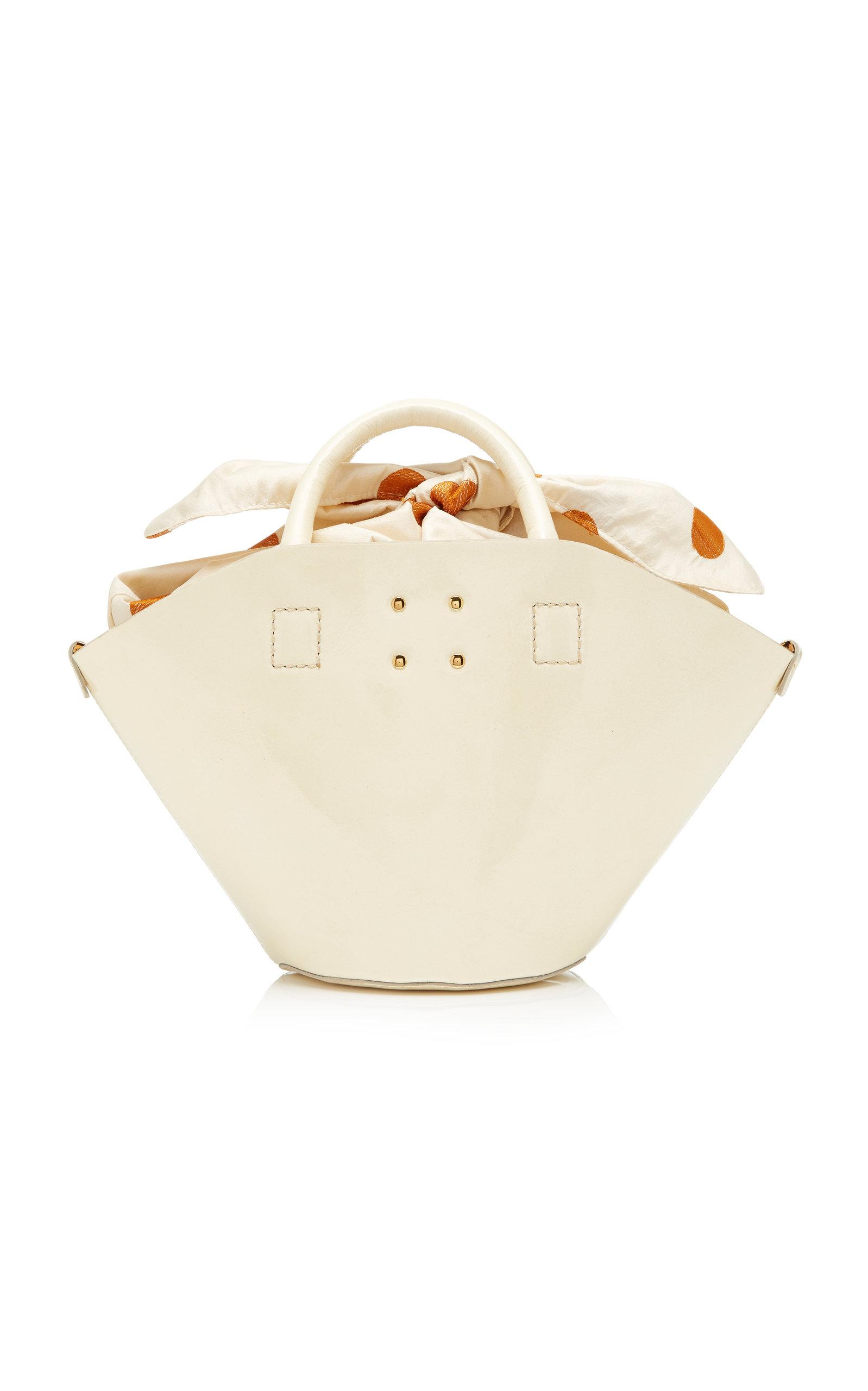 Trademark Small Patent Basket Bag In White