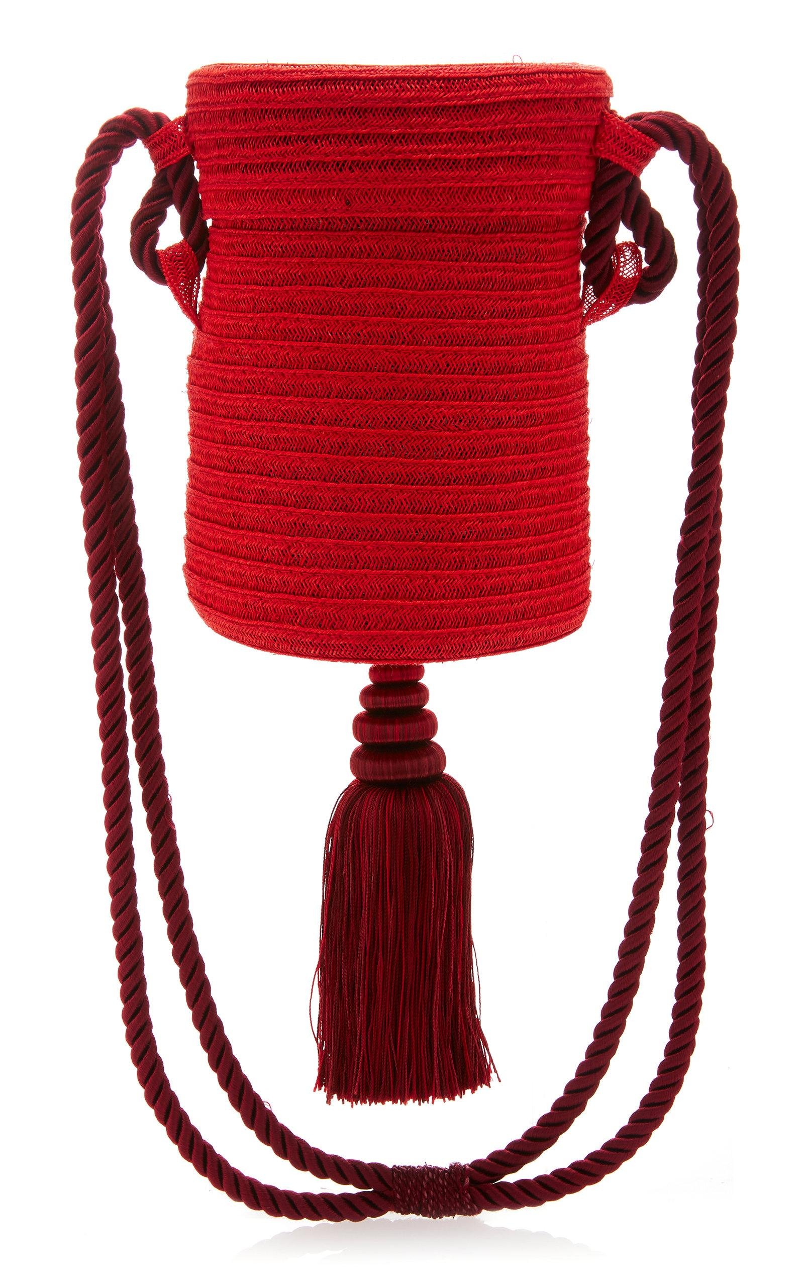 Rebecca De Ravenel M'o Exclusive Embellished Straw Bag In Red
