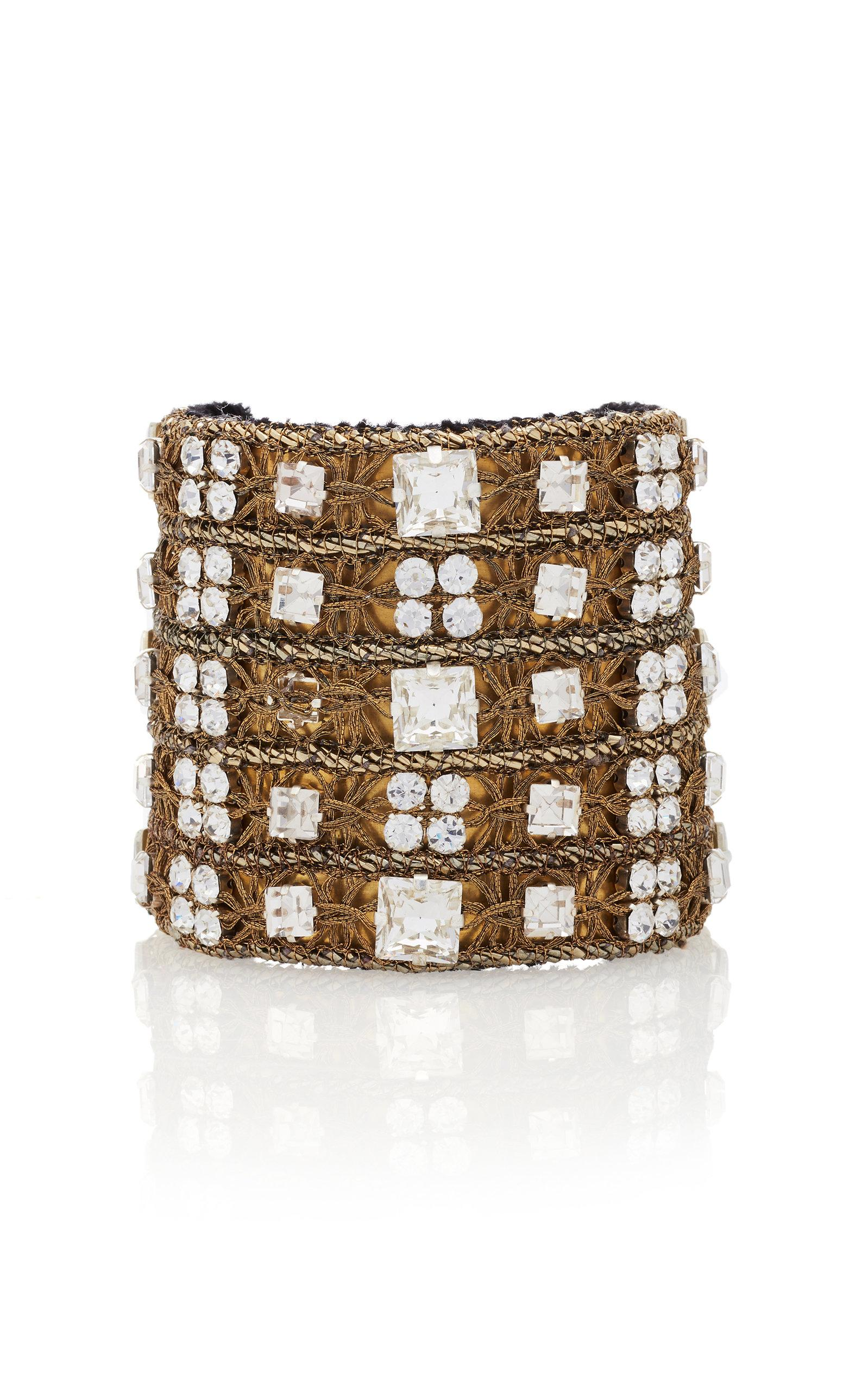 Rebecca De Ravenel Carmen Gold-plated Crystal Cuff In White