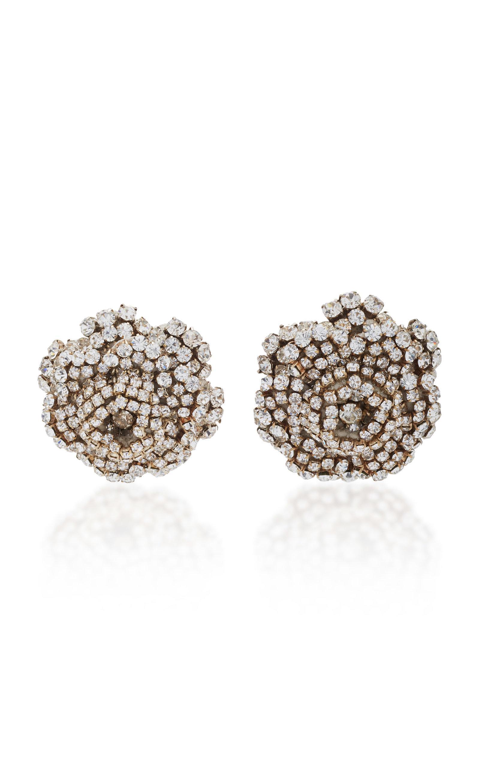 Rebecca De Ravenel Ava Floral Crystal Earrings In White