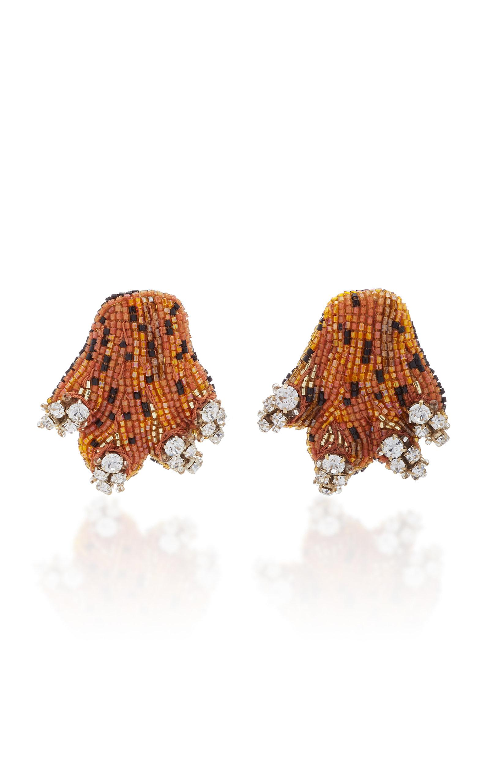 Rebecca De Ravenel Crystal Bead And Gold-plated Clip Earrings In Orange
