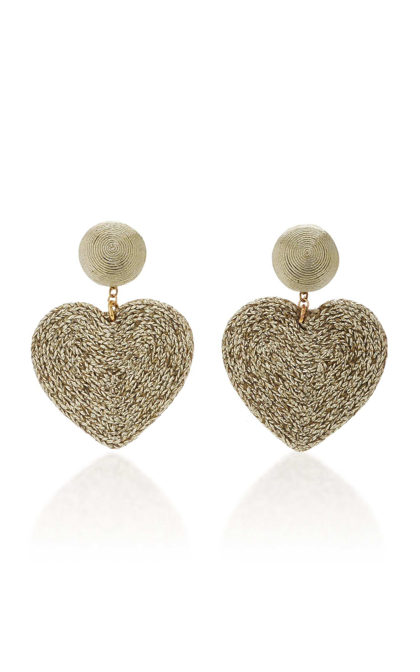 Rebecca De Ravenel Cora Cord And Gold-plated Clip Earrings