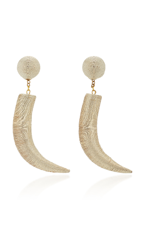 Rebecca De Ravenel Pasha Cord And Gold-plated Clip Earrings