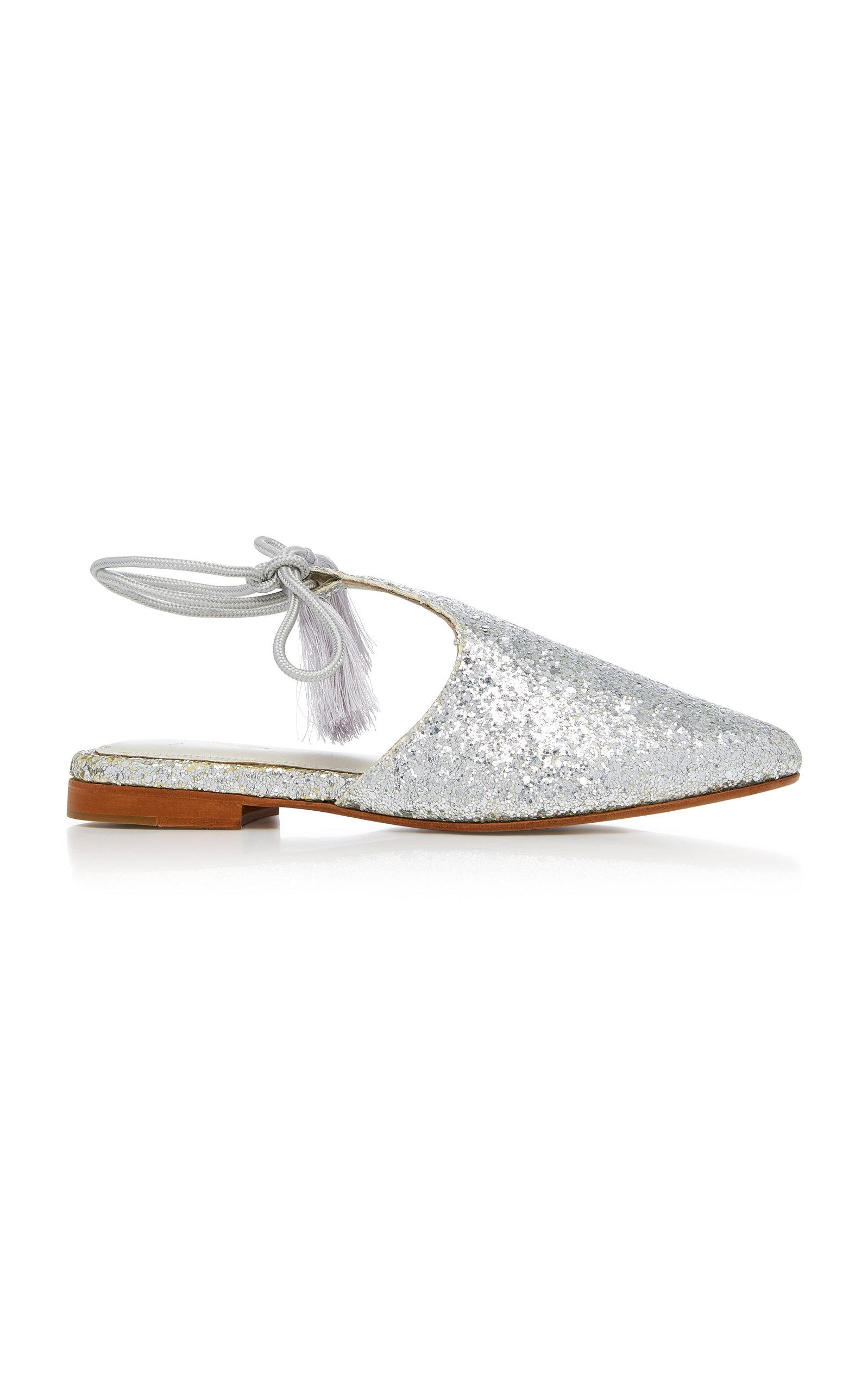 Zyne Arianna Glitter Slipper In Silver