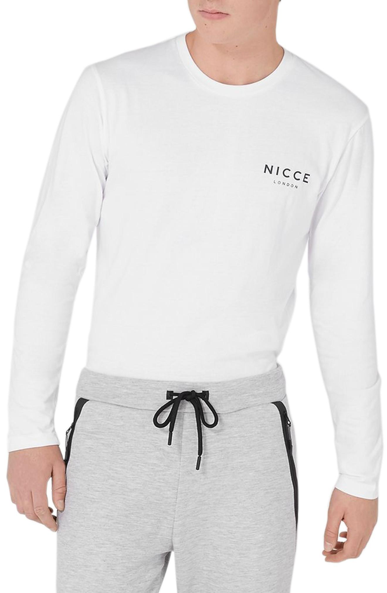Topman Nicce Graphic Long Sleeve T-shirt In White