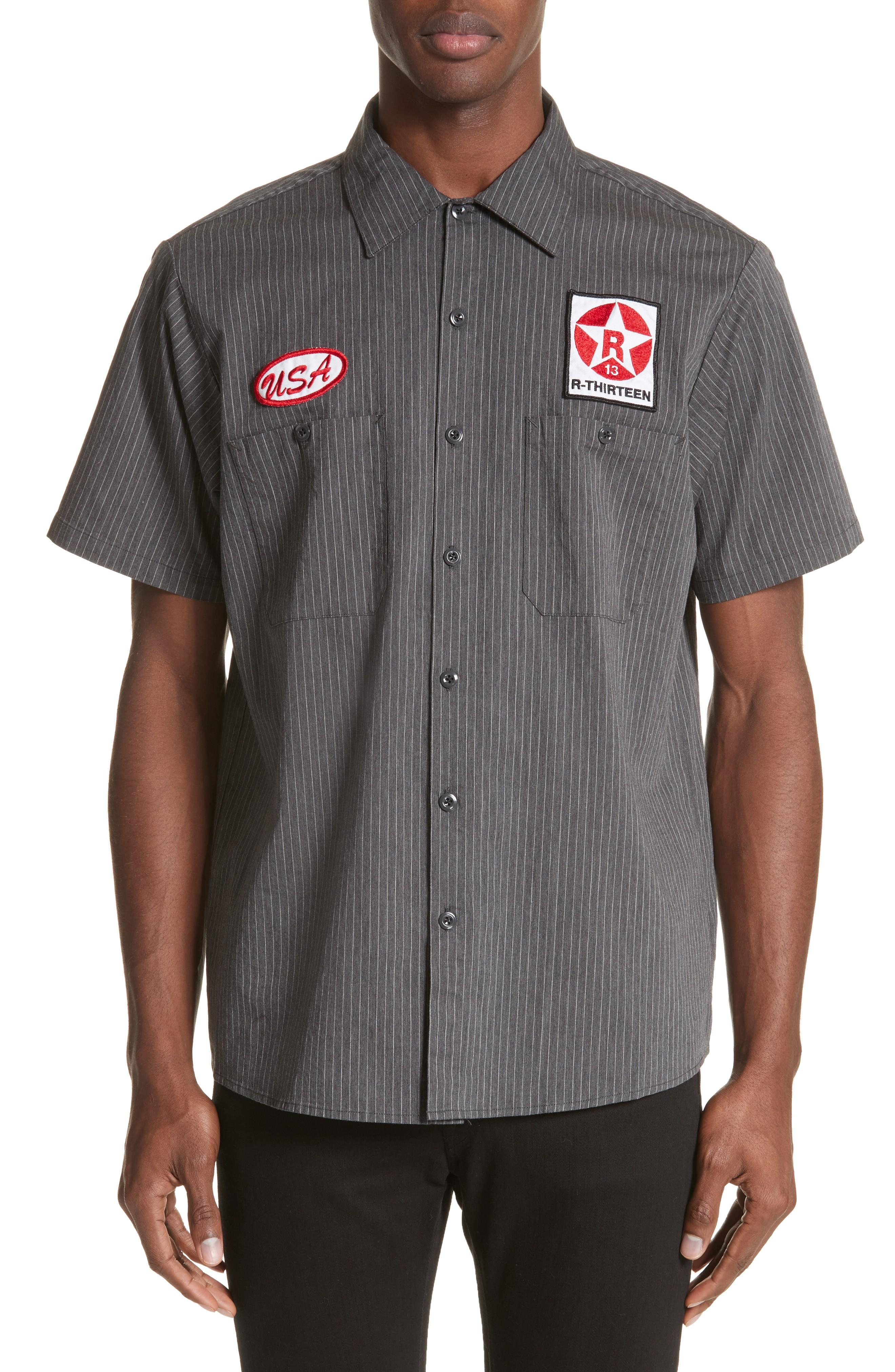 R13 Mechanice Short Sleeve Woven Shirt In Charcoal Pinstripe