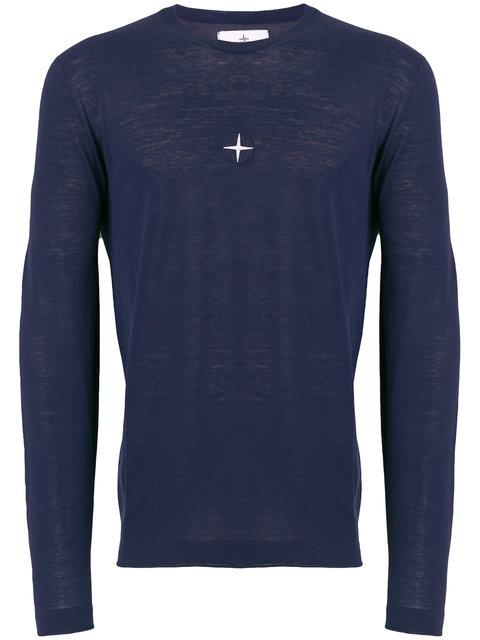Stone Island Embroidered Crest Sweater In Blue