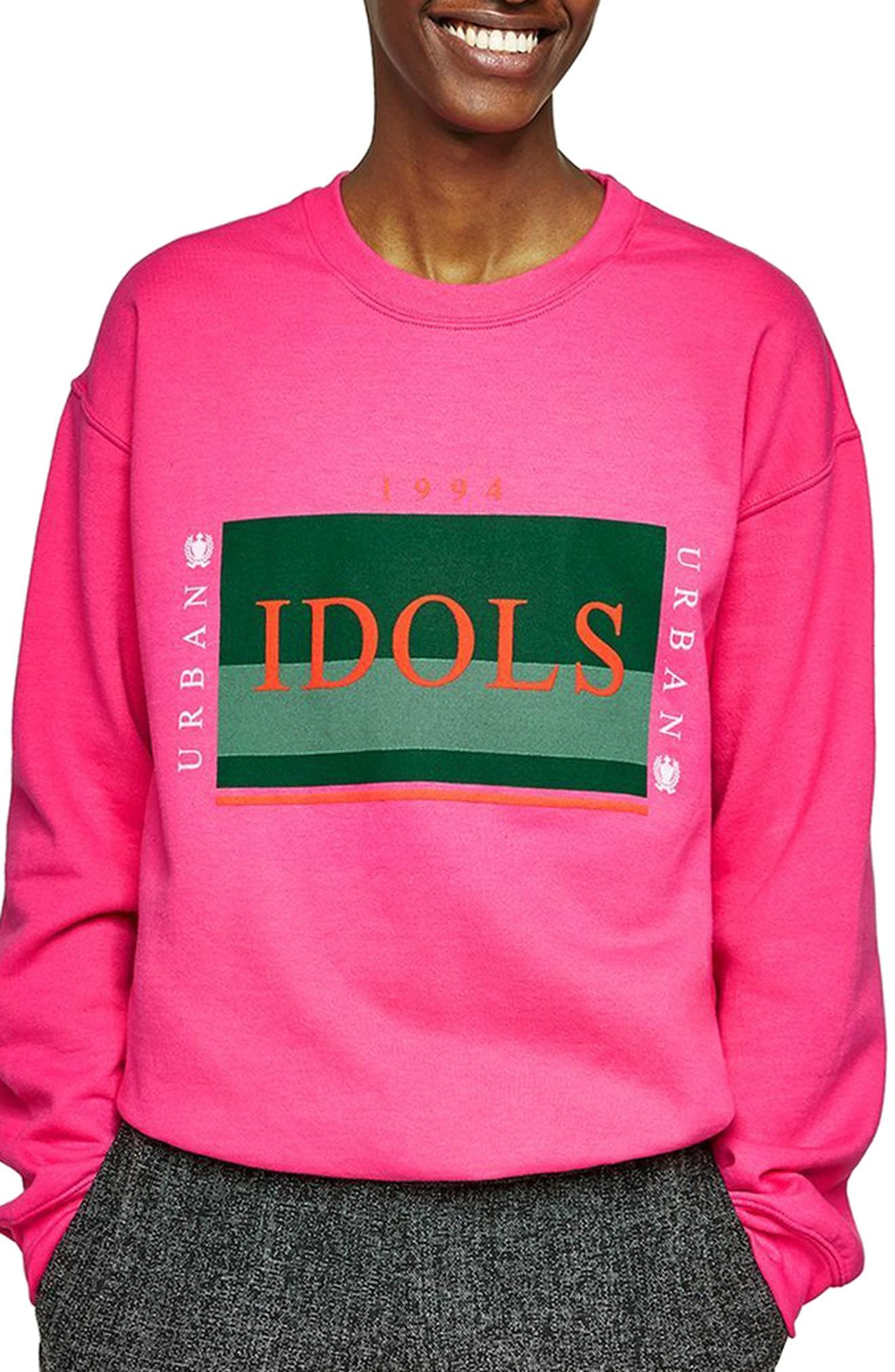 Topman Urban Idols Graphic Sweatshirt In Pink Multi
