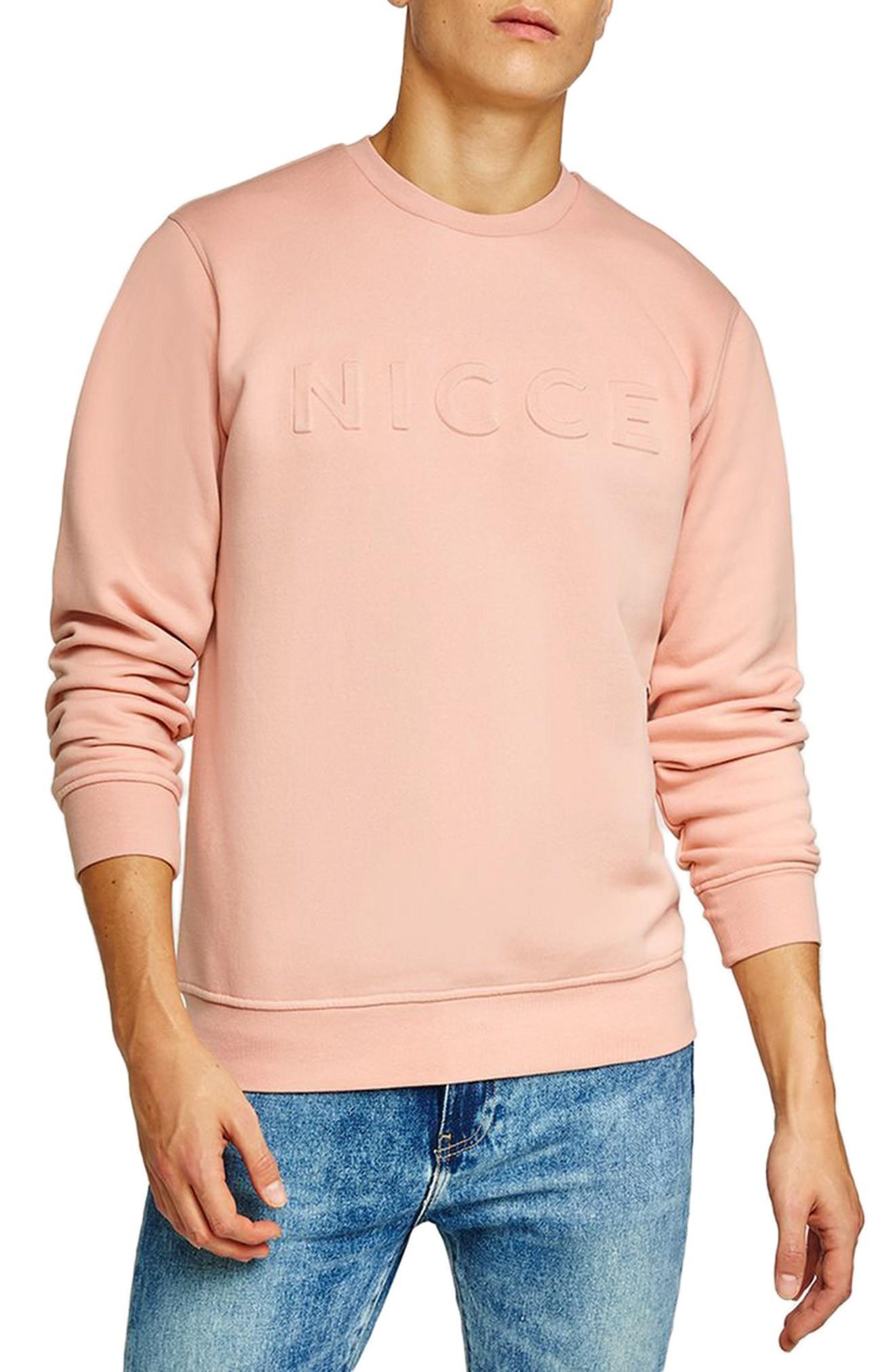 Topman Nicce Slim Fit Embossed Sweatshirt In Pink