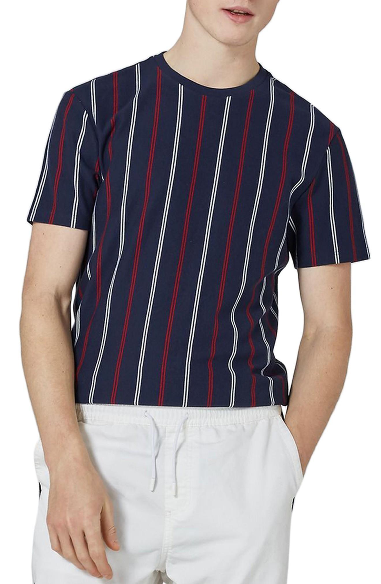 Topman Slim Fit Vertical Striped T-shirt In Dark Blue Multi