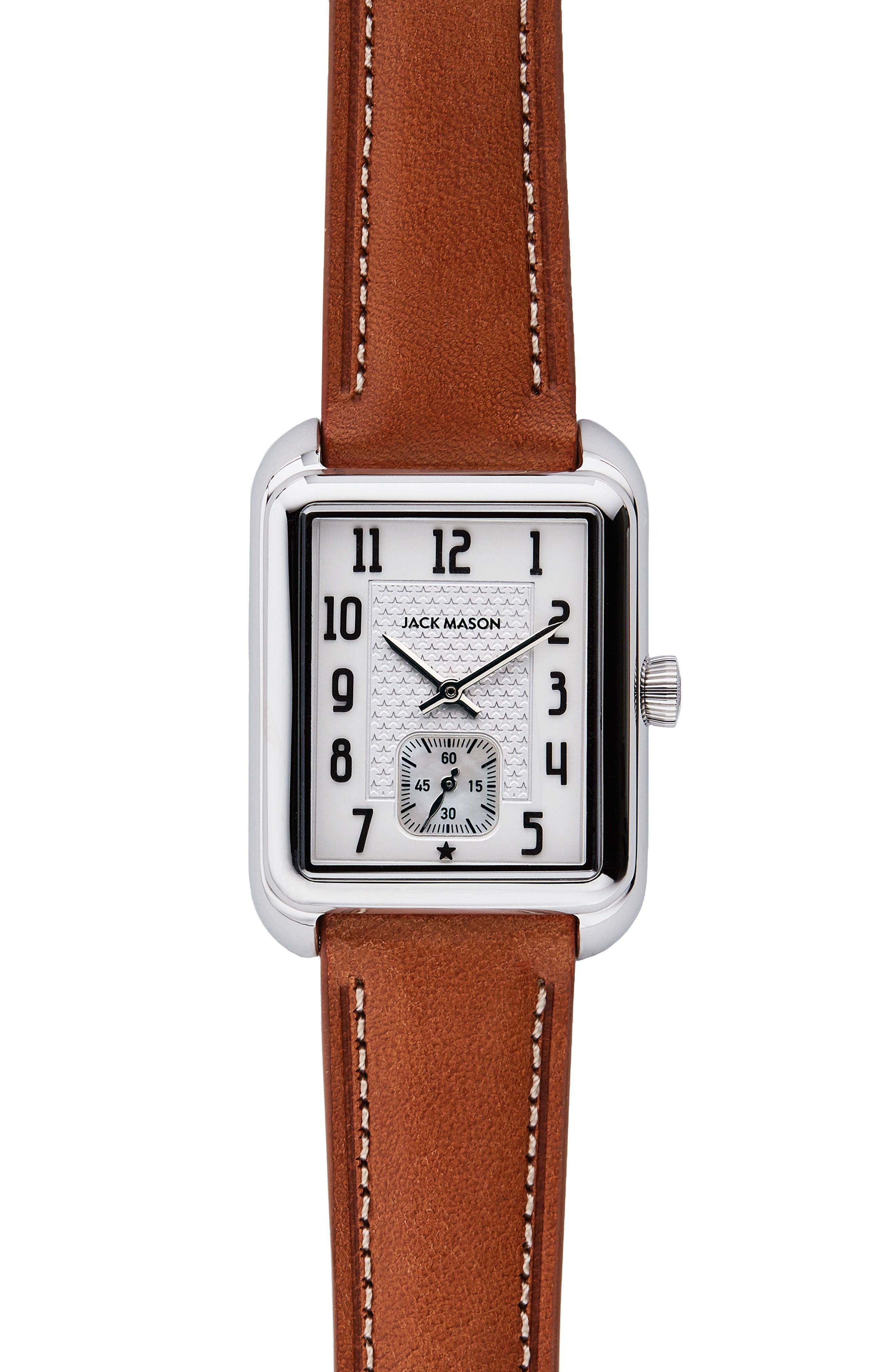 Jack Mason Issue No. 2 Leather Strap Watch, 34mm X 28mm In Tan/ White/ Silver