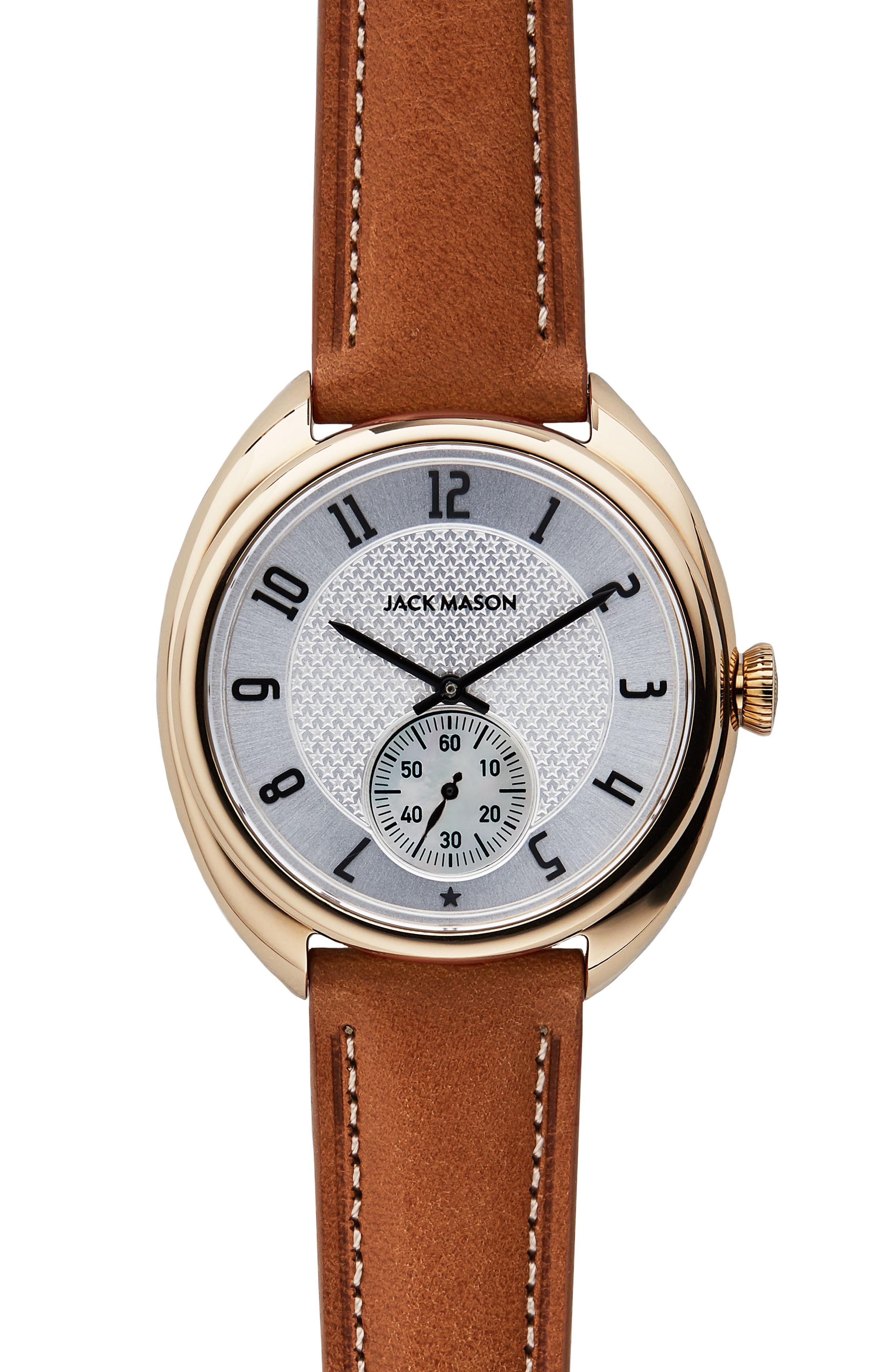 Jack Mason Issue No. 1 Leather Strap Watch, 41mm In Tan/ White/ Gold
