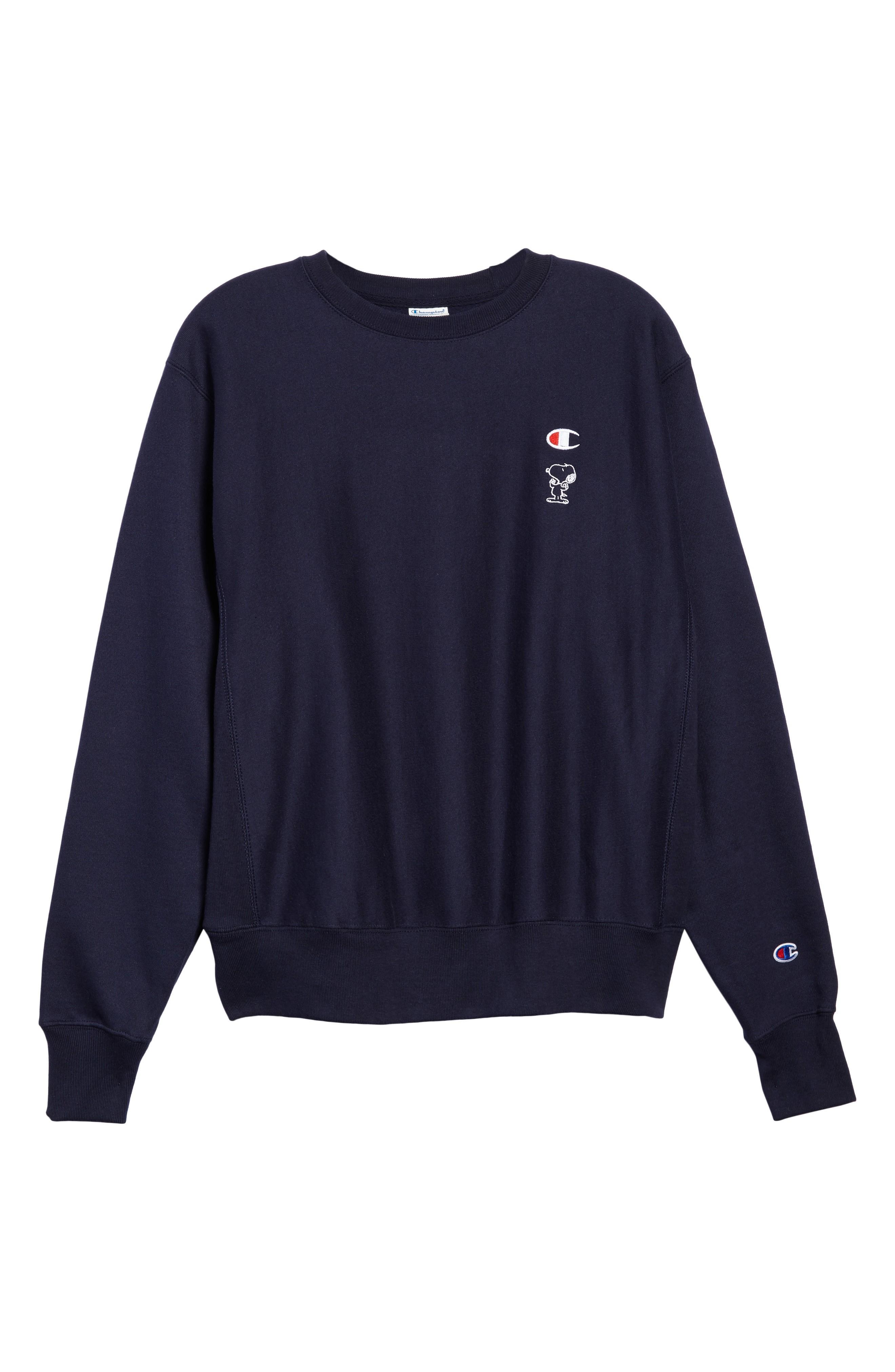 Champion Snoopy Unisex Sweatshirt In Navy