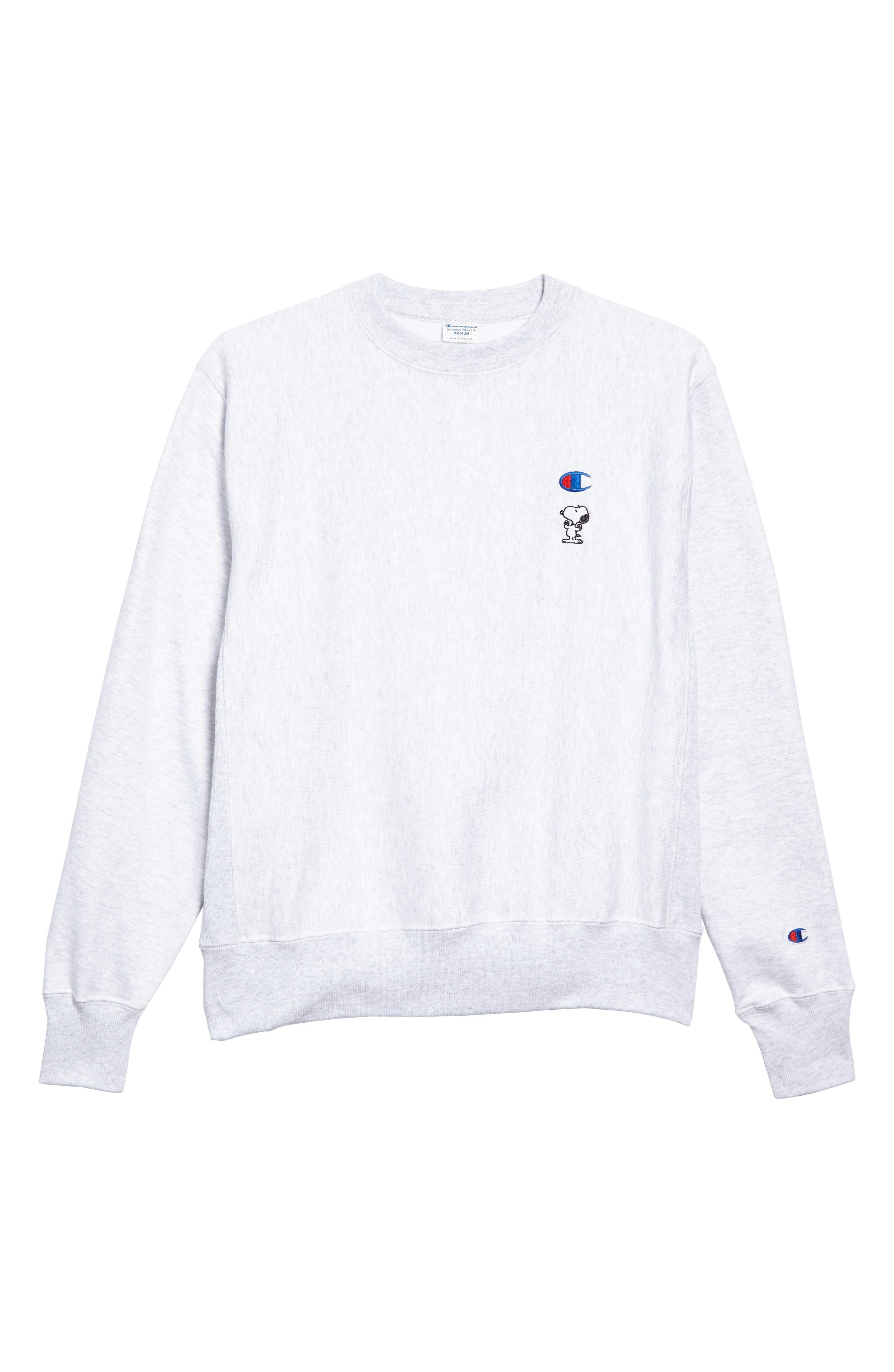 Champion Snoopy Unisex Sweatshirt In Silver Grey
