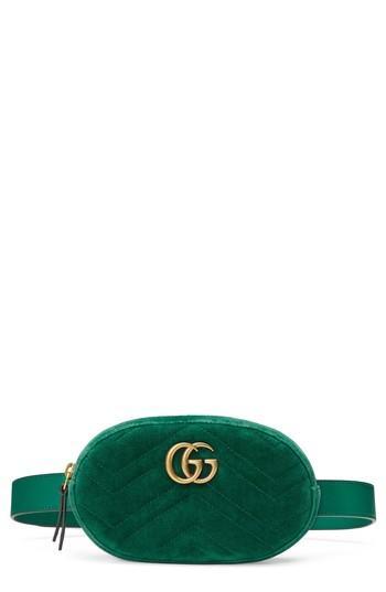 Gucci Small Gg Marmont 2.0 Velvet Belt Bag - Green In Emerald/ Emerald