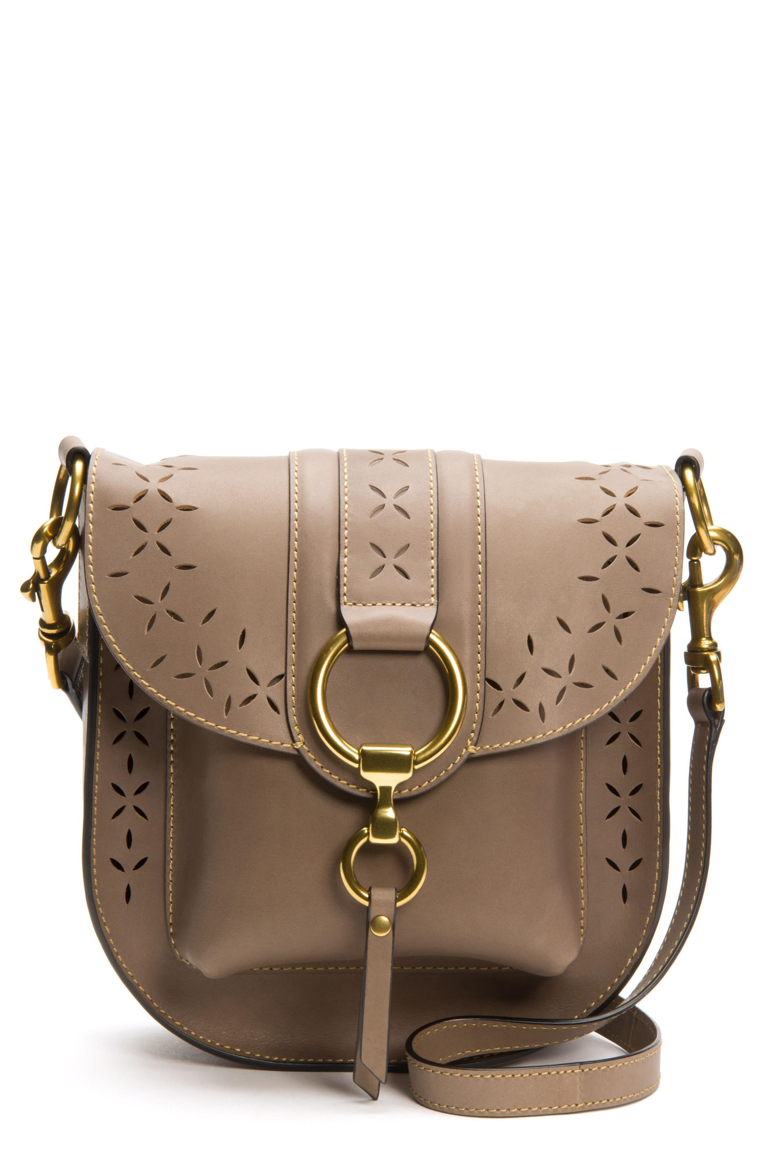 Frye Ilana Harness Perforated Leather Saddle Bag - Grey In Cement