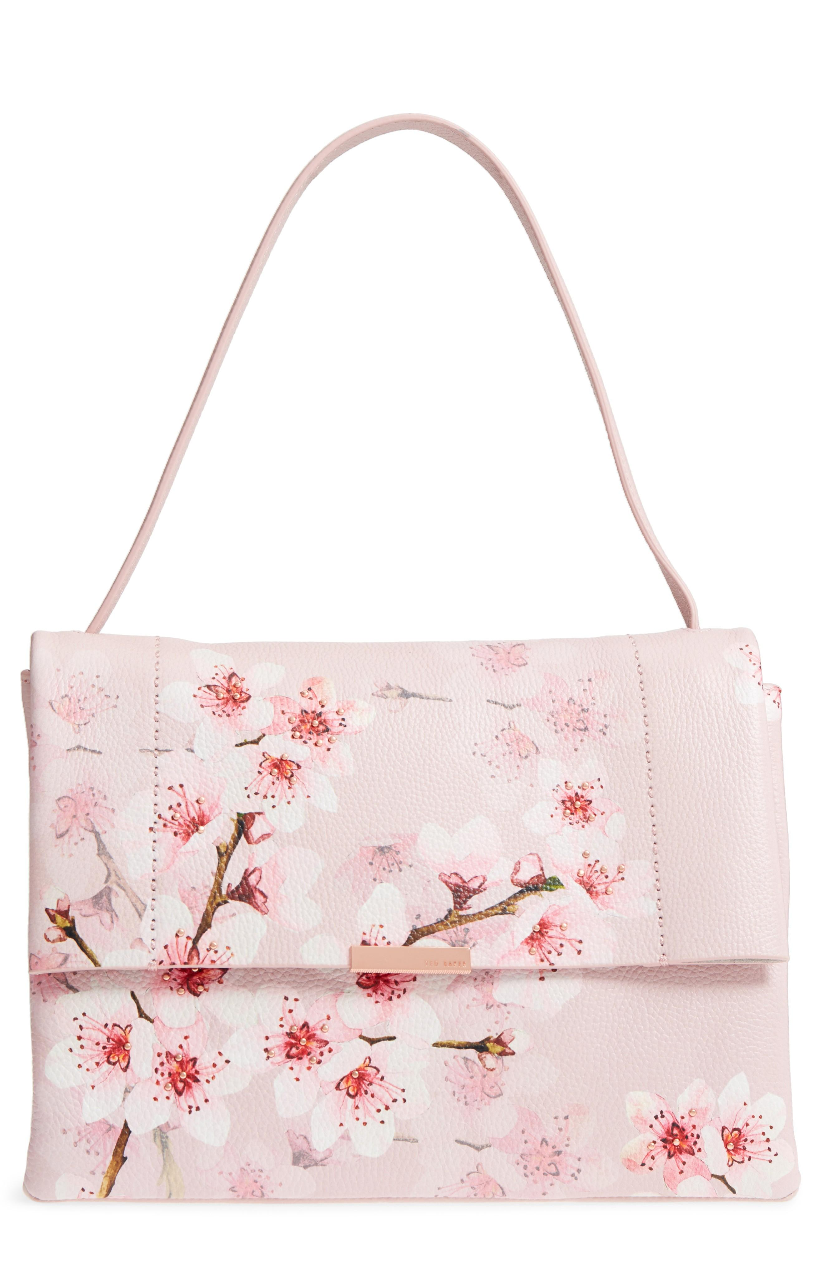 Ted Baker Jayde Soft Blossom Leather Shoulder Bag - Pink In Light Pink