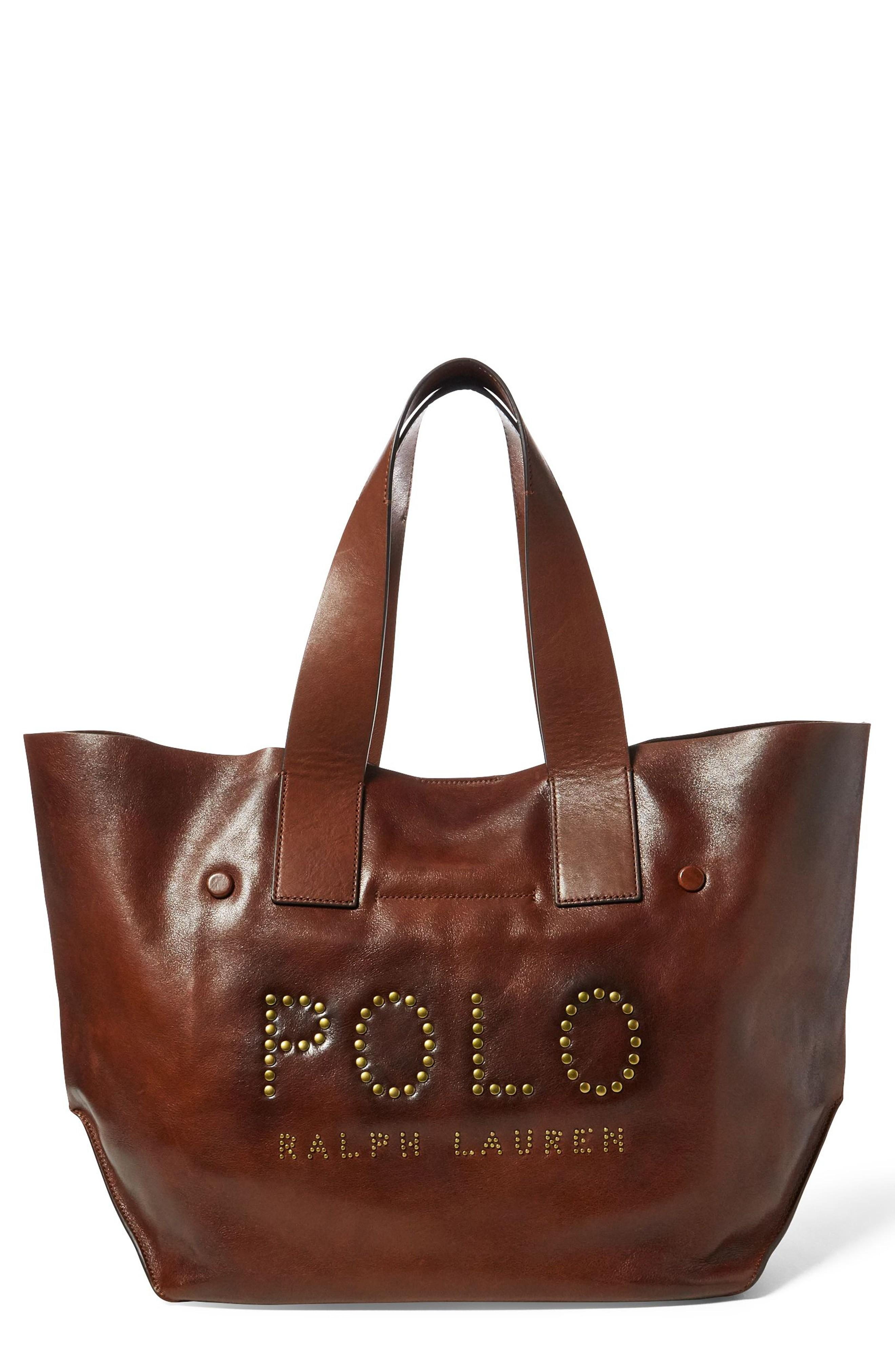 Polo Ralph Lauren Leather Market Tote - Brown In Cuoio