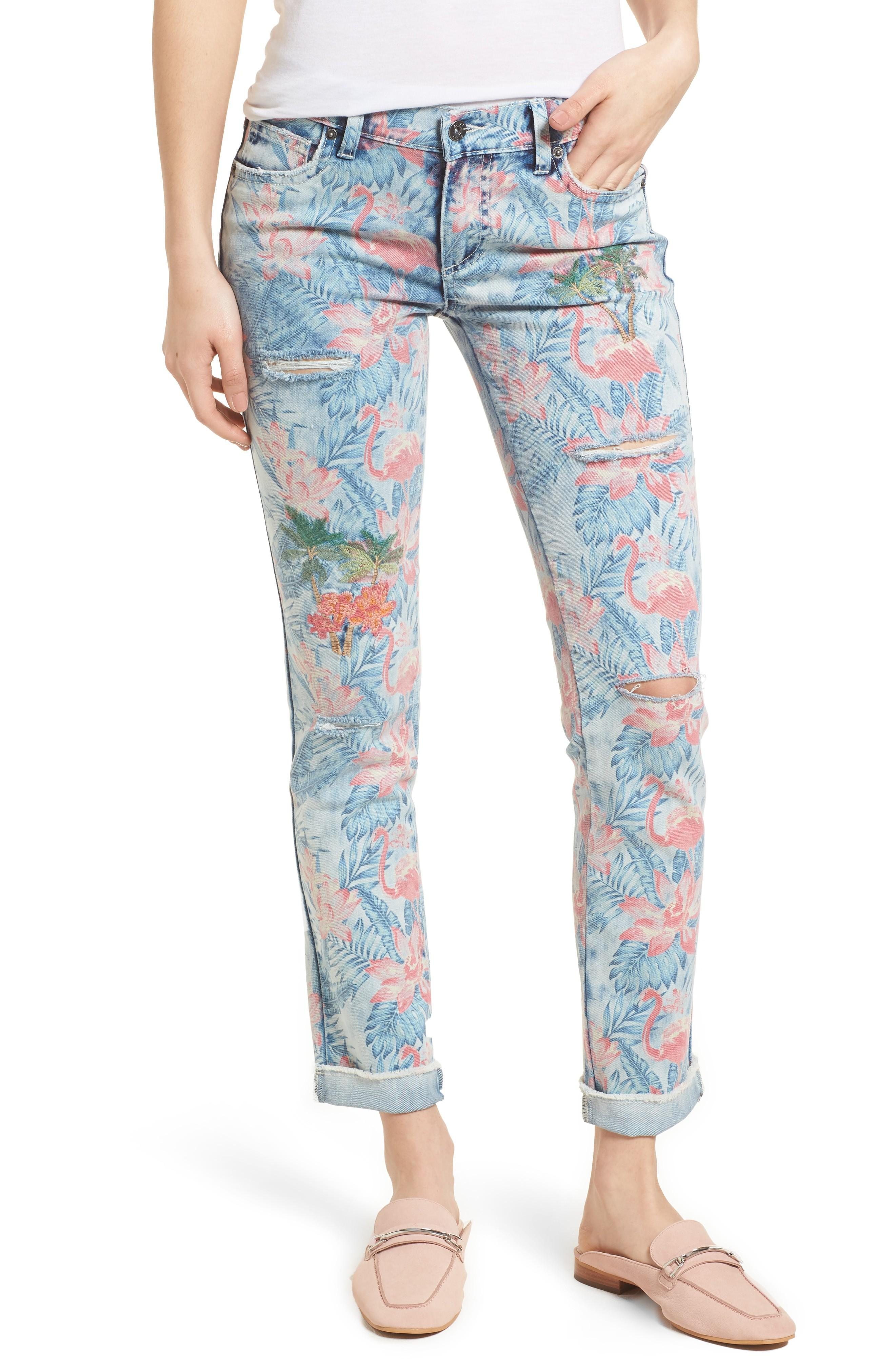 Billy T Embroidered Distressed Flamingo Jeans In Light Blue Paradise