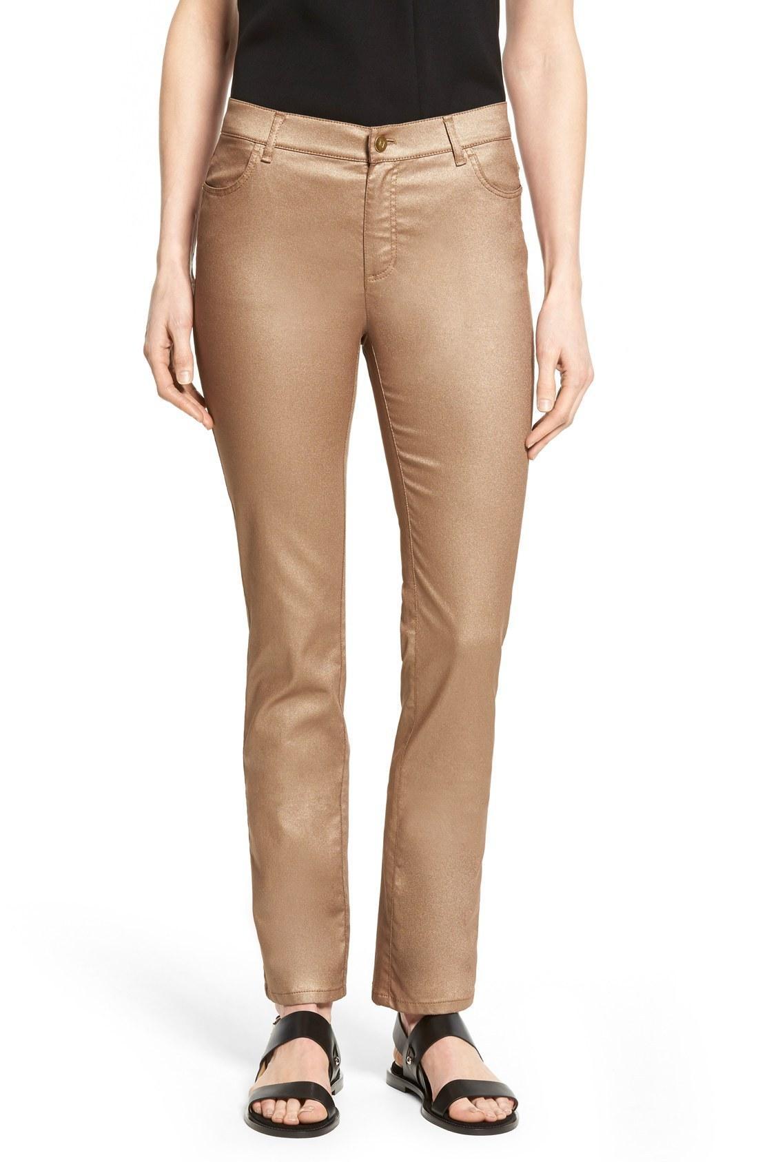 Lafayette 148 Curvy Fit Skinny Jeans In Gold