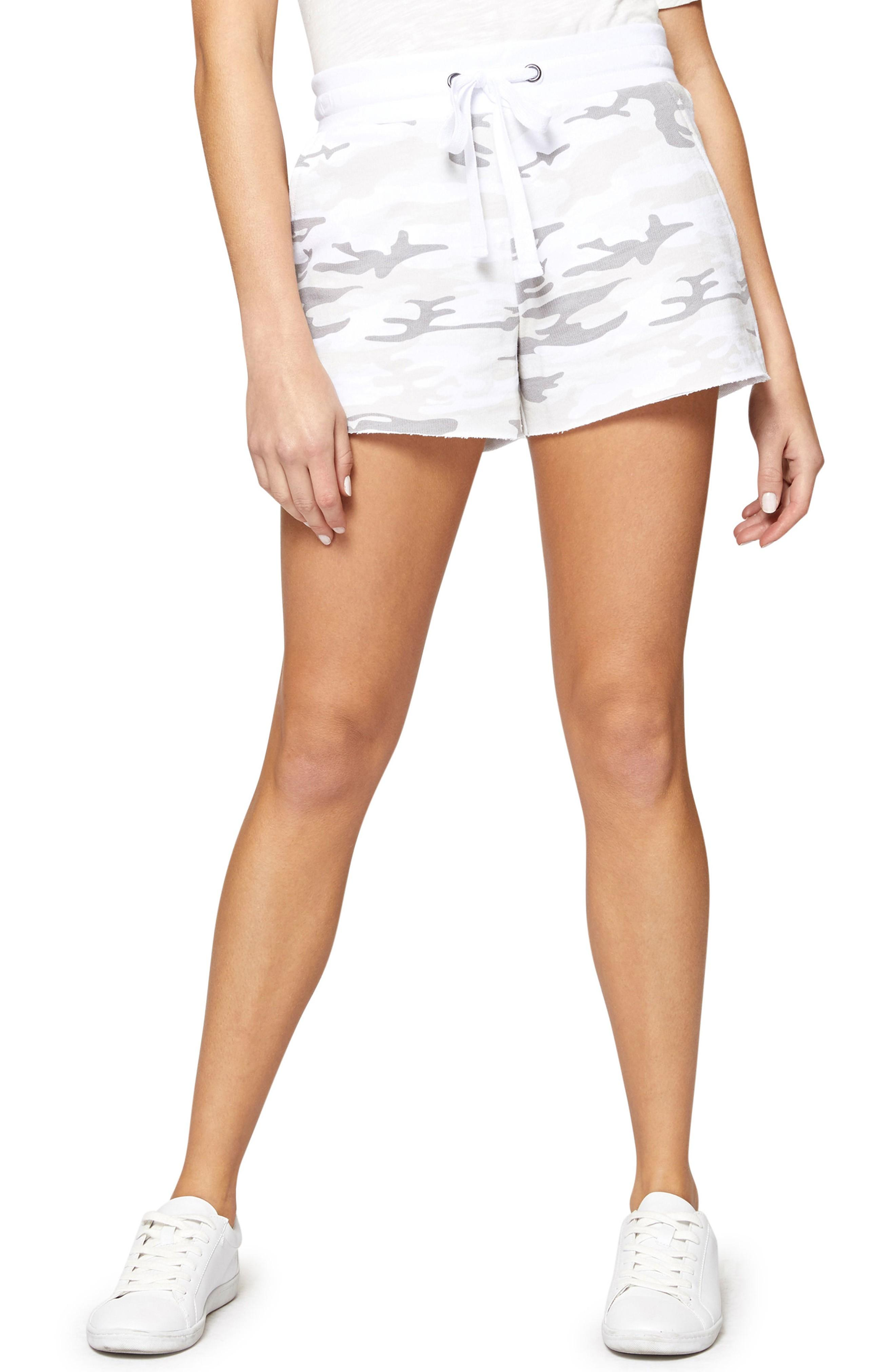 Sanctuary French Terry Drawstring Shorts In White Camo