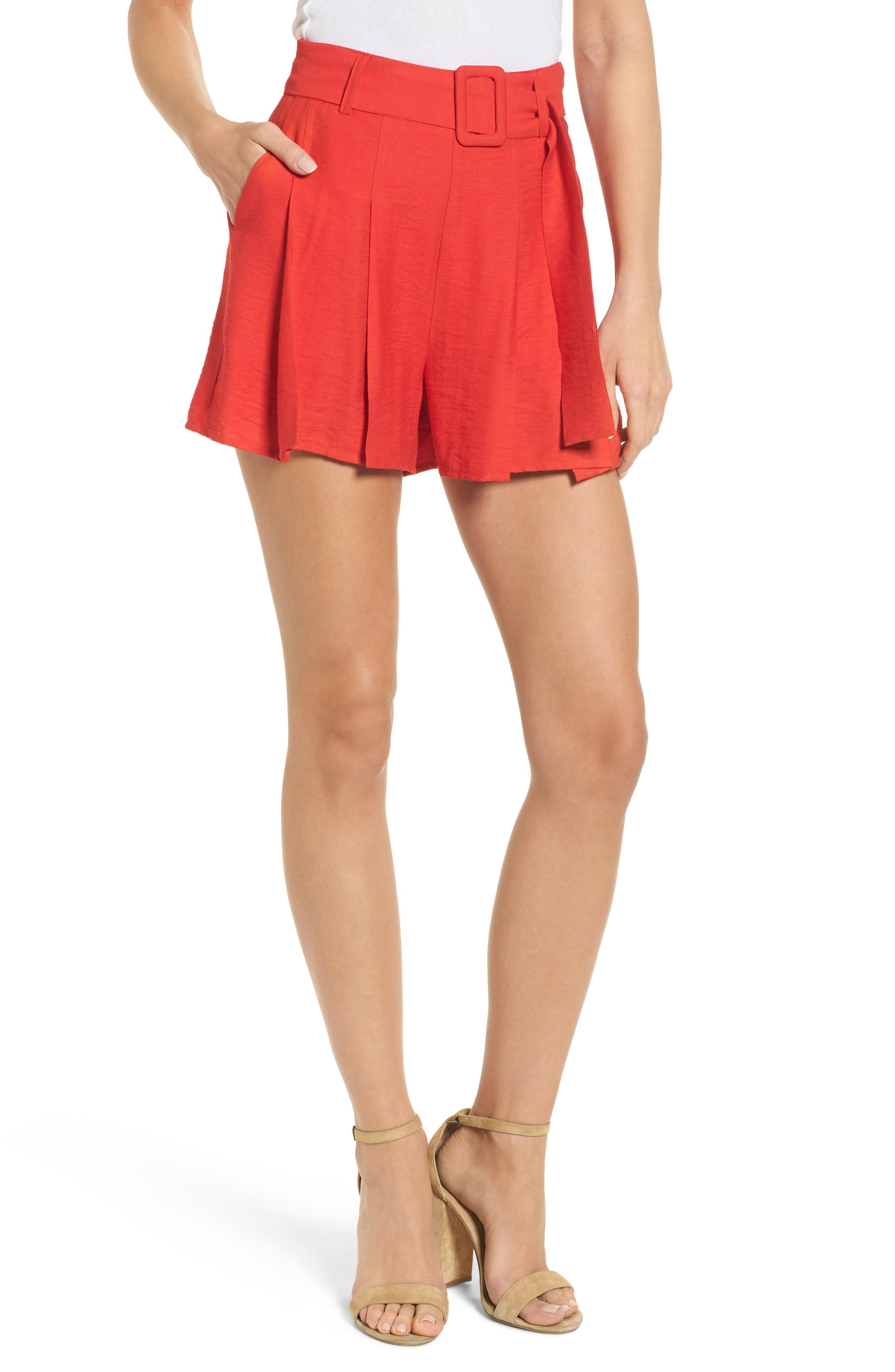 Moon River Belted High Waist Shorts In Red