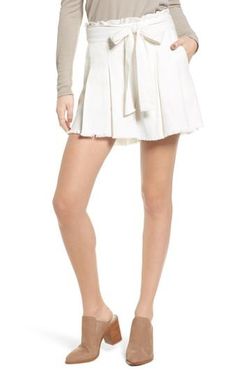Moon River Raw Hem Paper Bag Waist Shorts In White