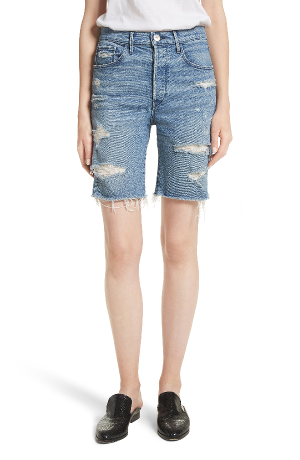 3x1 W3 Ryder Ripped Denim Shorts In Sutra
