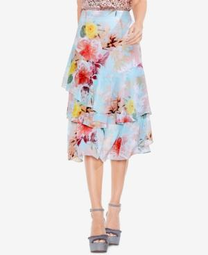 Vince Camuto Faded Blooms Floral-print Tiered Skirt In Aqua Glow