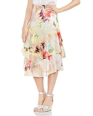 Vince Camuto Faded Blooms Tiered Ruffle Skirt In Lemon Cream