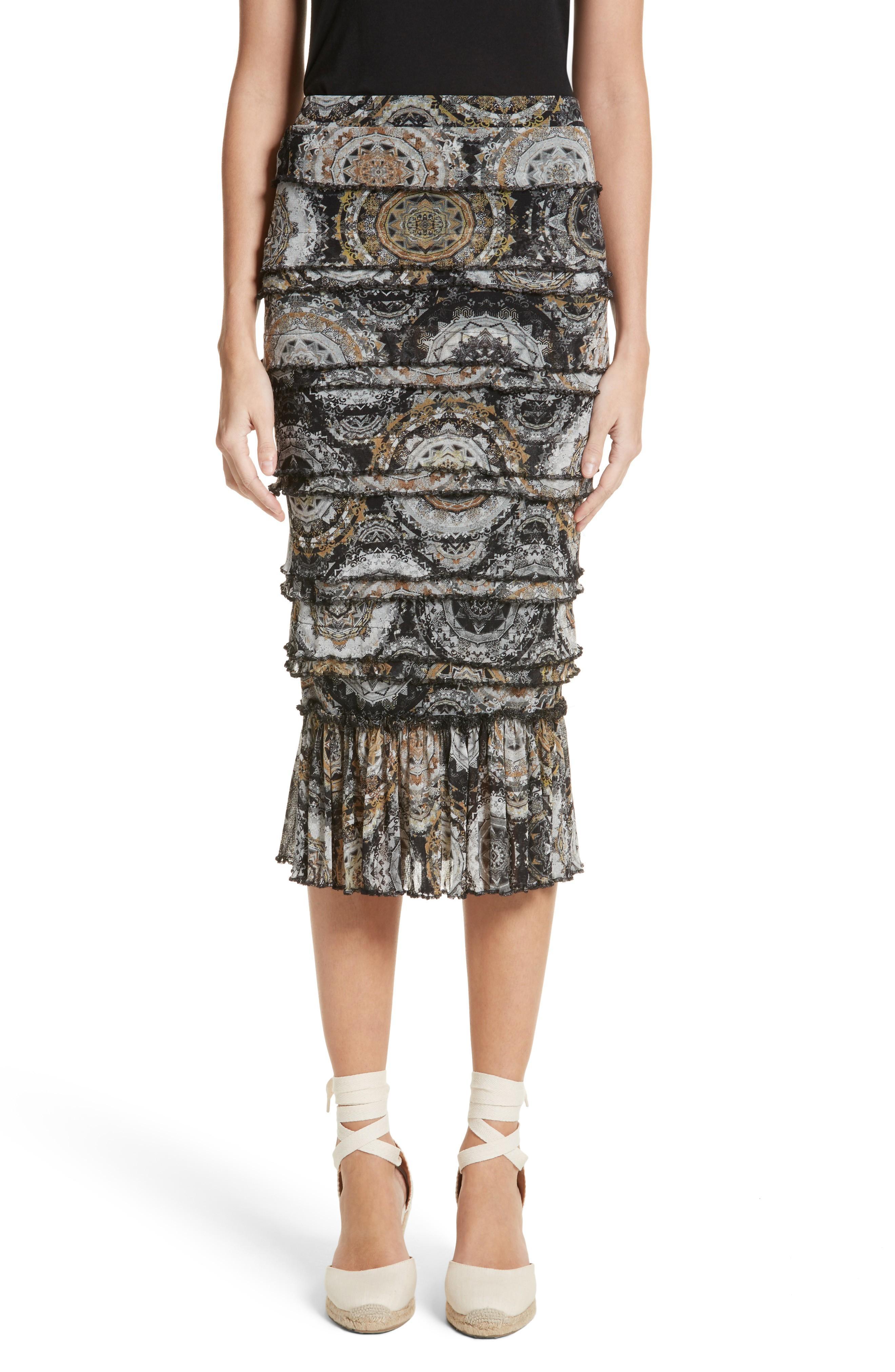Fuzzi Ruffle Tier Tulle Mesh Pencil Skirt In Nero