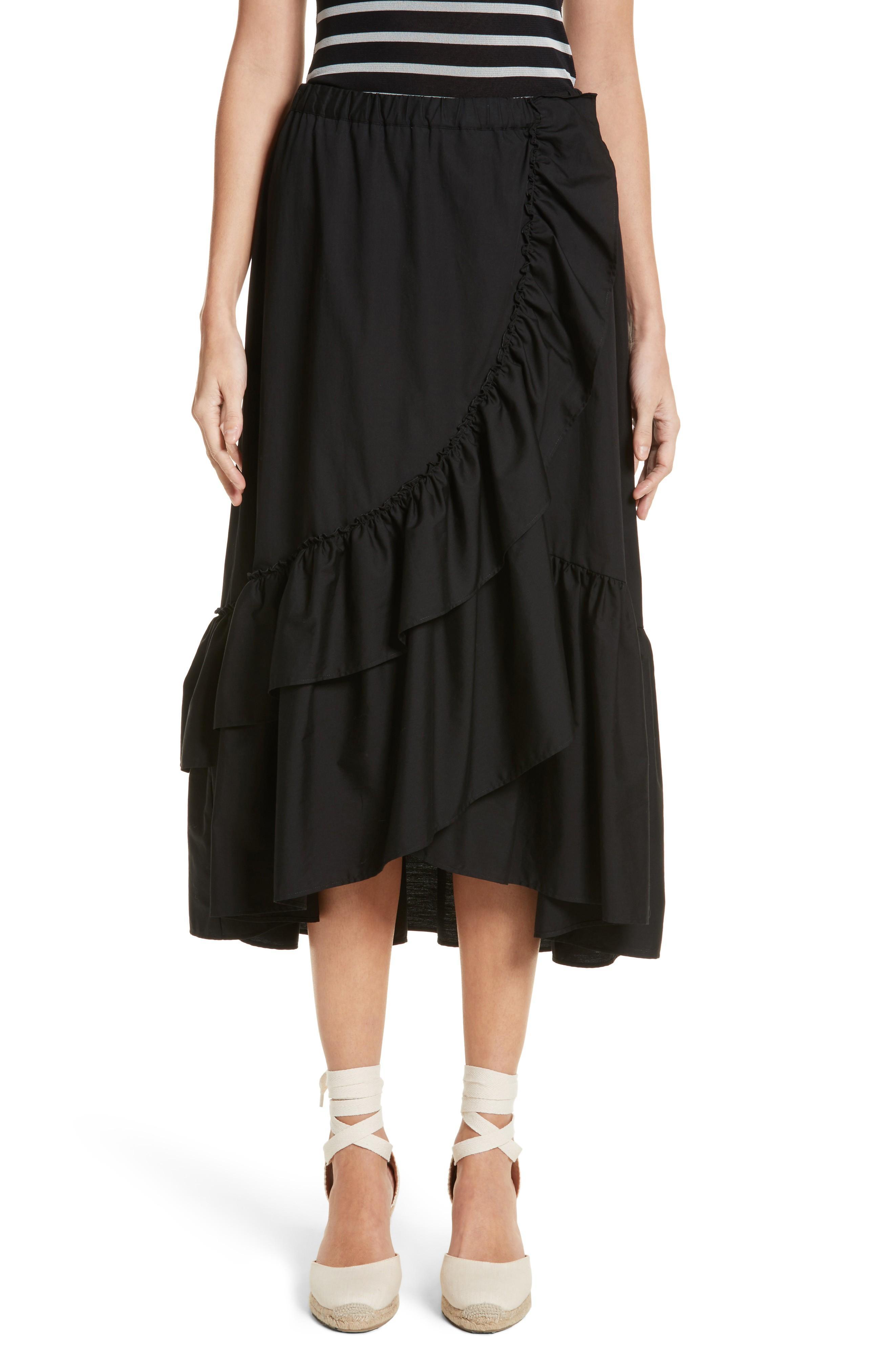 Fuzzi Ruffled Poplin Skirt In Nero