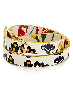 Tory Burch Reversible Floral Print Leather Wrap Bracelet In Iris