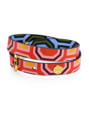 Tory Burch Reversible Leather Double Wrap Bracelet In Octagon Square Multi