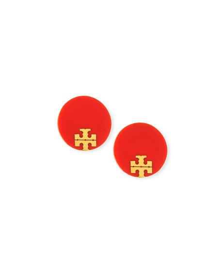 Tory Burch Enamel Logo Stud Earrings In Sweet Tangerine